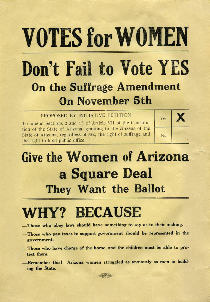 handbill votes for women arizona state archives state county