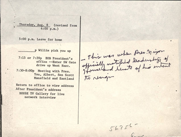 appointment slip with notes congressman john rhodes collection