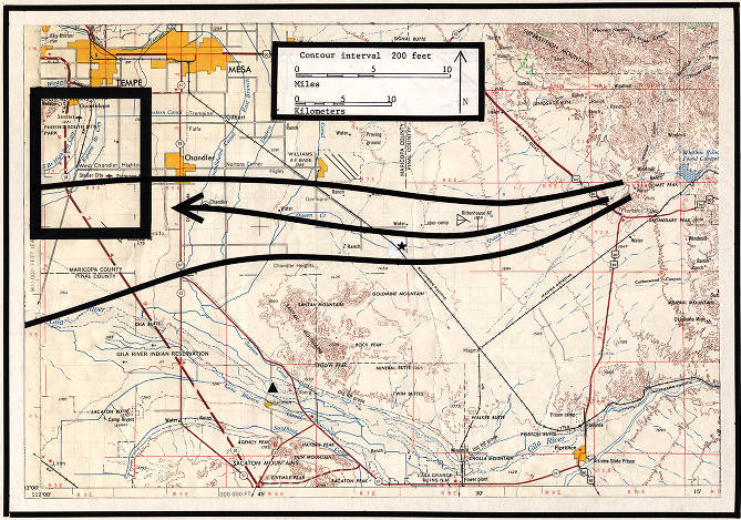 Map Of Central Arizona.Map By Dr Troy Pewe Showing Ground Water Movement In Central