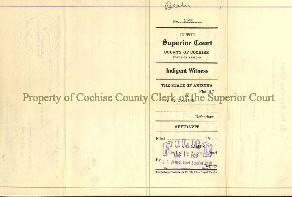 Page 1 - Cochise County Clerk's Office - Bisbee Deportation