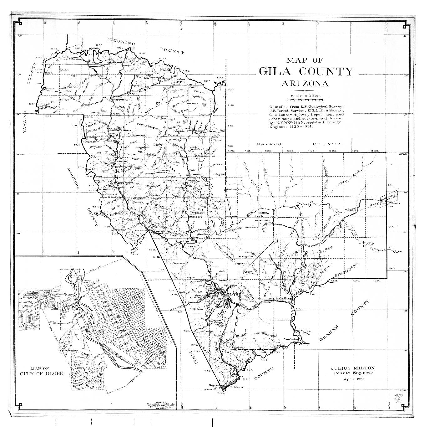 Gila County Map Of Gila County Arizona Compiled From U S