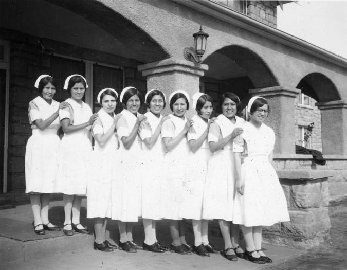 Photograph of Native American nurses at Sage Memorial Hospital on