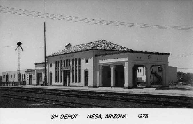 Photograph of the Southern Pacific Railroad Depot in Mesa