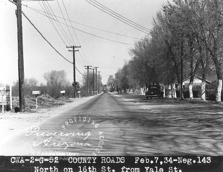 Photograph of construction on 16th Street at Yale Street in