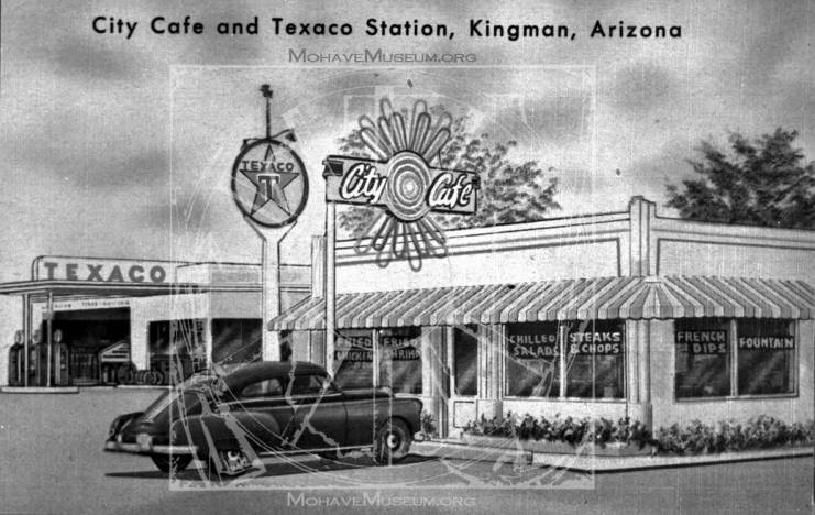 View of City Cafe and Texaco Station - Mohave Museum - History of