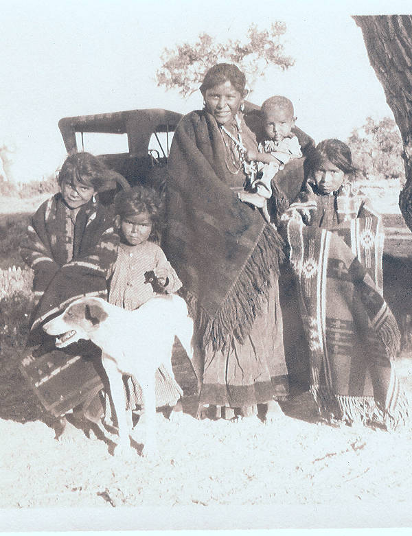 Indian mother and children with dog - Indigenous Peoples