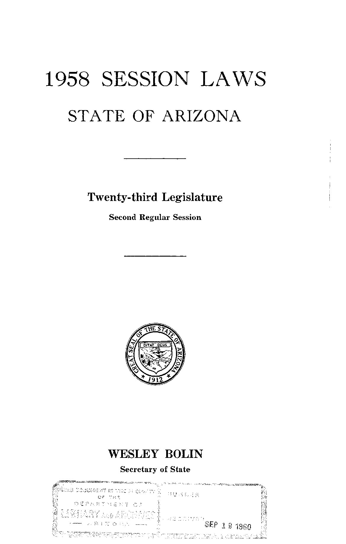 Session laws, State of Arizona, 1958, Twenty-Third
