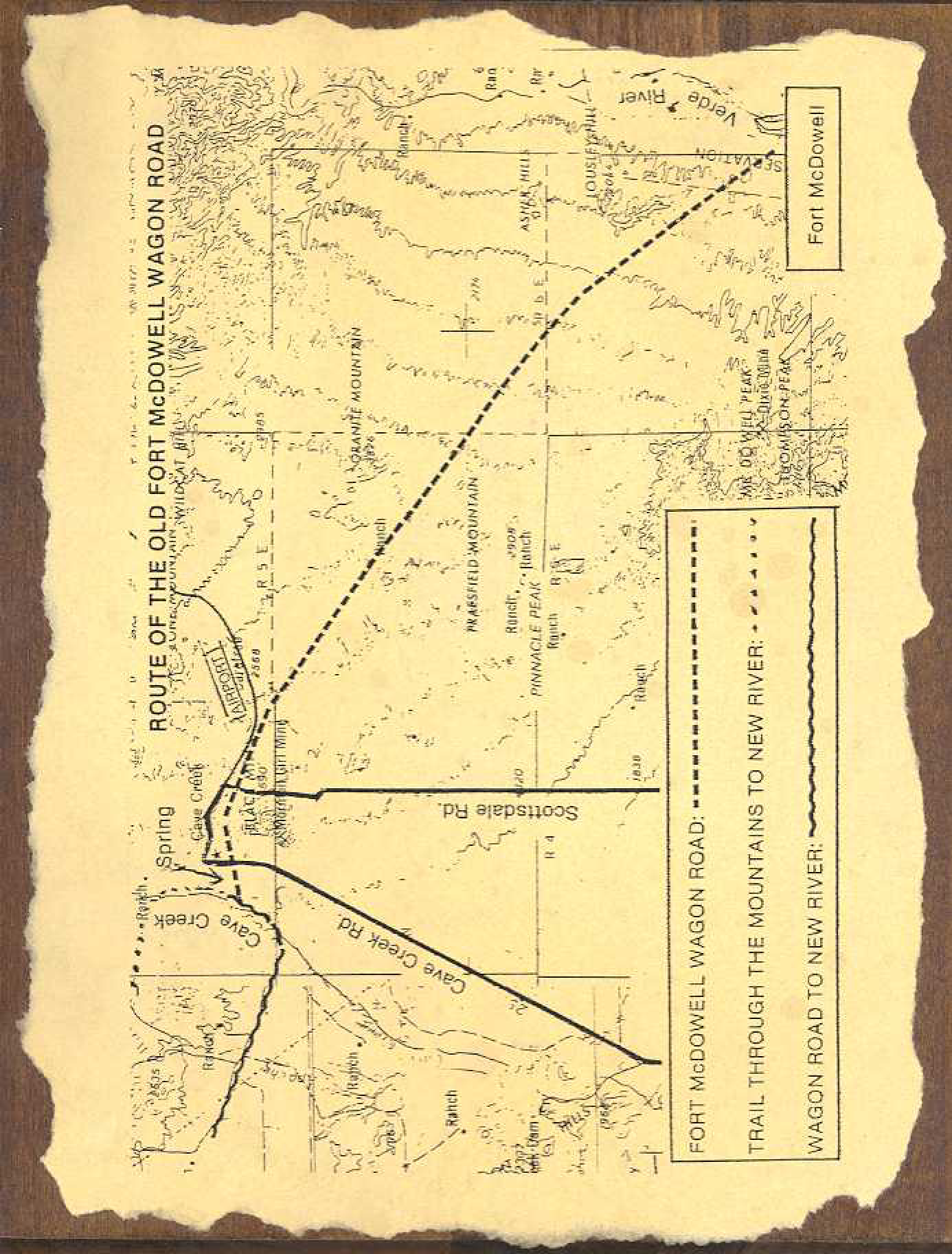 Map Of Old Arizona.Map Of The Route Of The Old Fort Mcdowell Wagon Road Early Cave