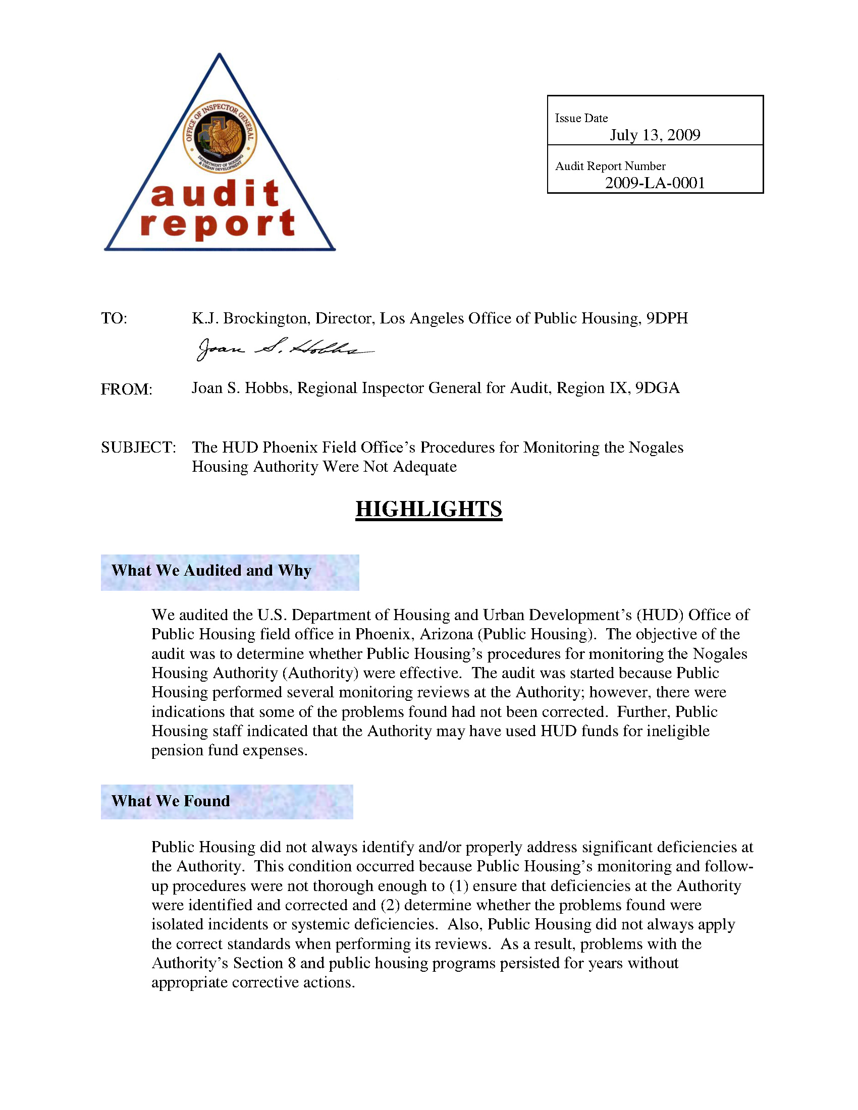HUD Phoenix Field Office's Procedures for Monitoring the