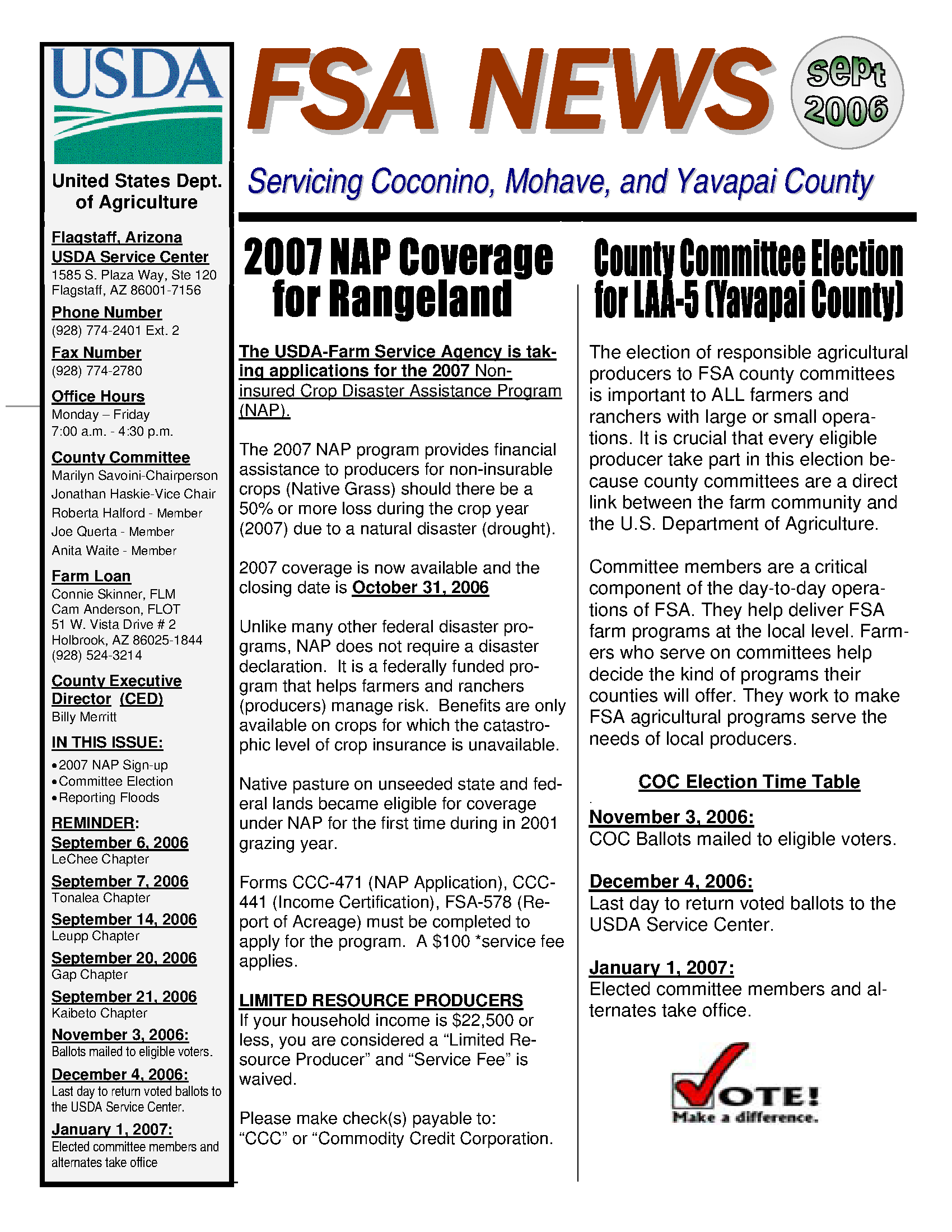 Fsa News Servicing Coconino Mohave And Yavapai Counties September