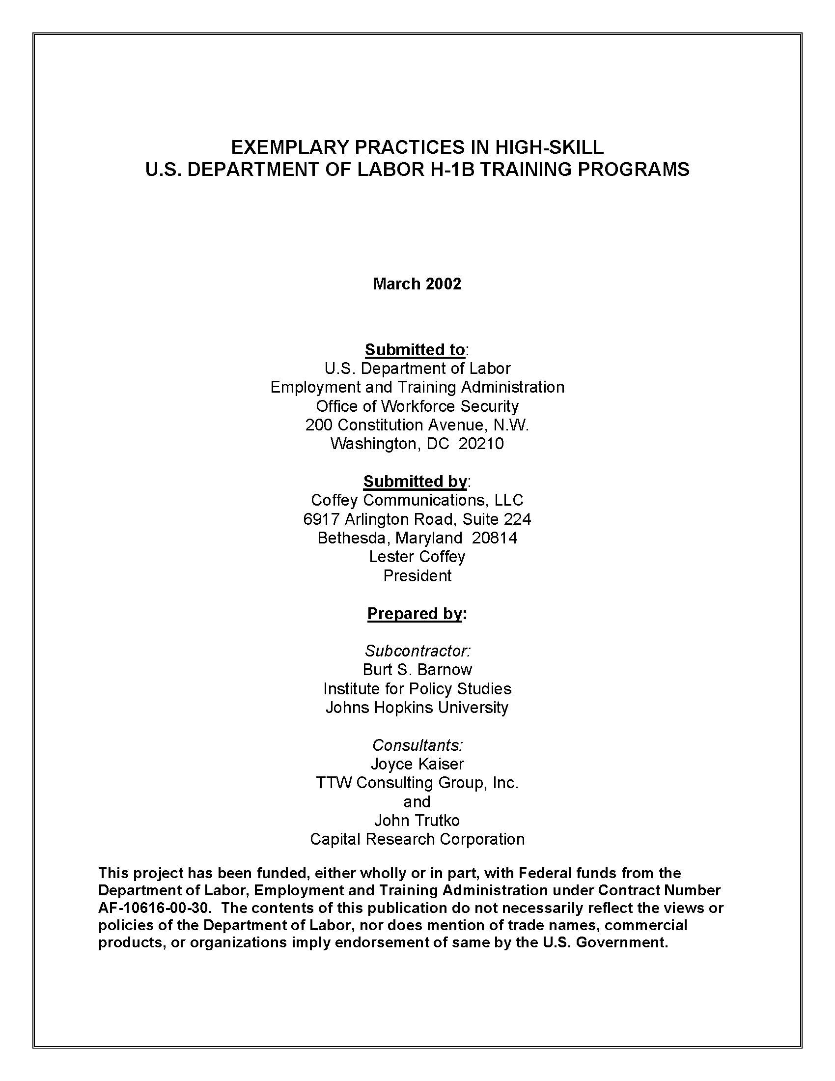 Exemplary Practices in High-skill U S  Department of Labor H