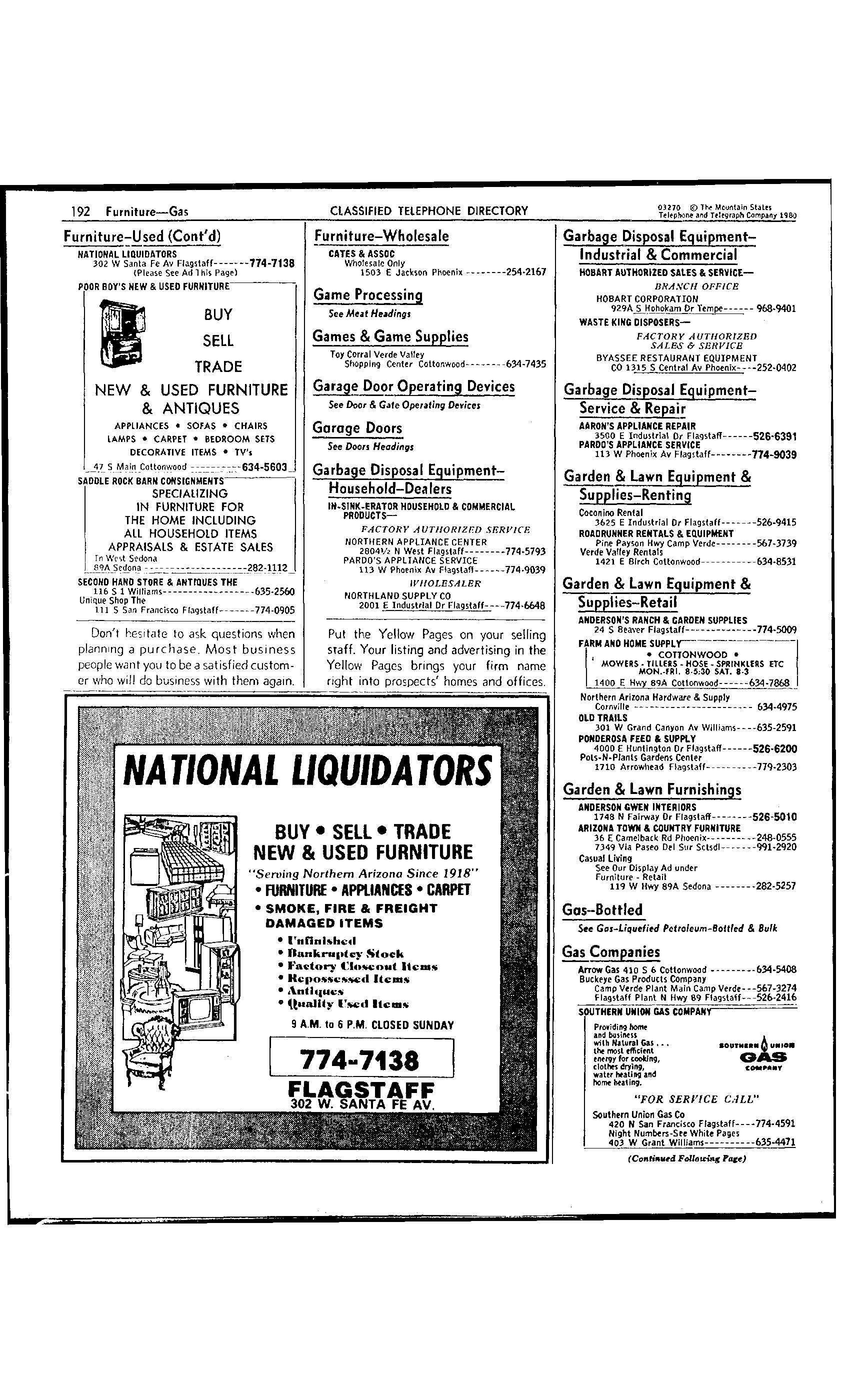 1980 Flagstaff Telephone Directory Yellow Pages part II