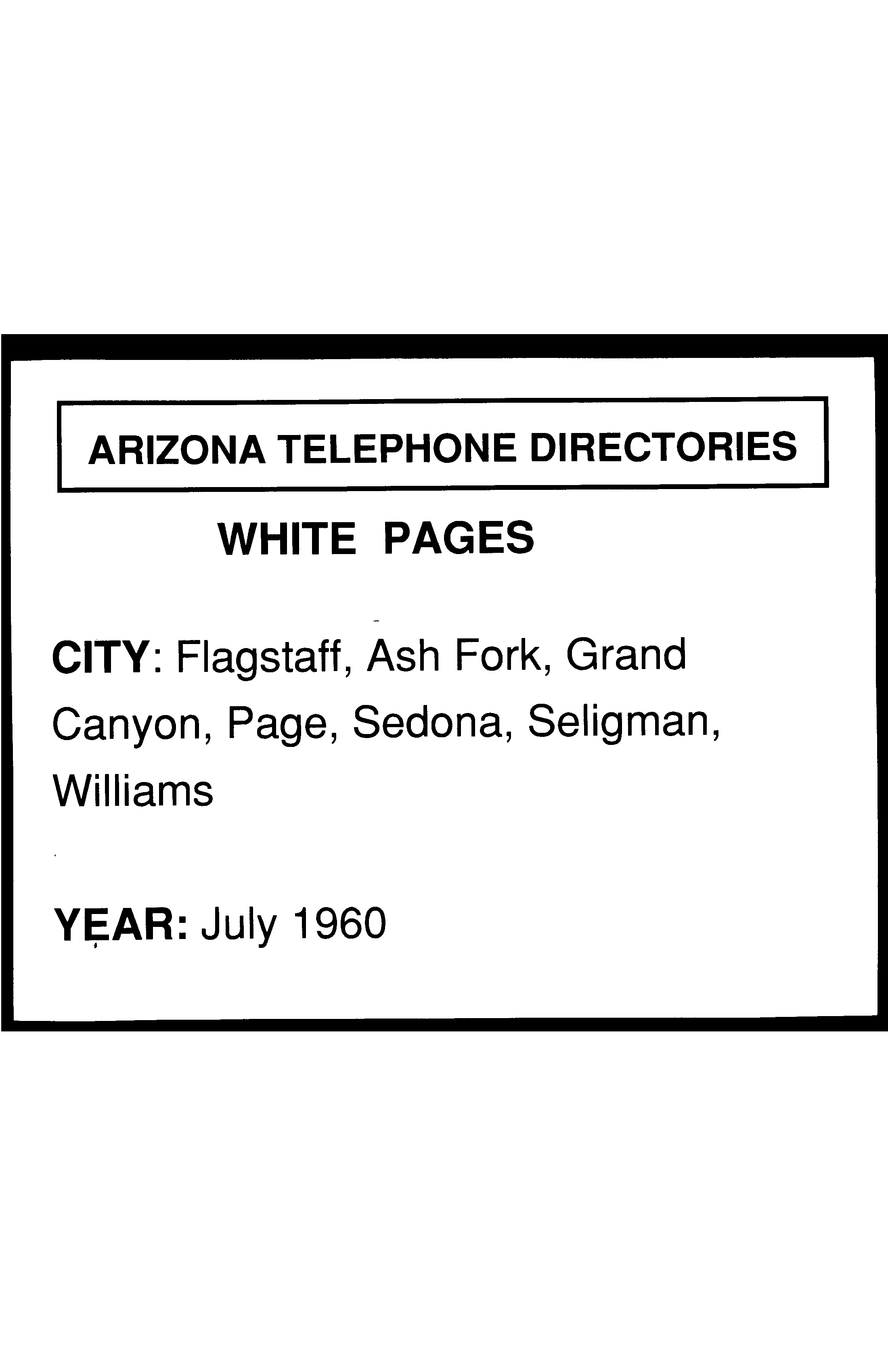 c3986852 1960 Flagstaff Telephone Directory White Pages - Flagstaff Telephone ...