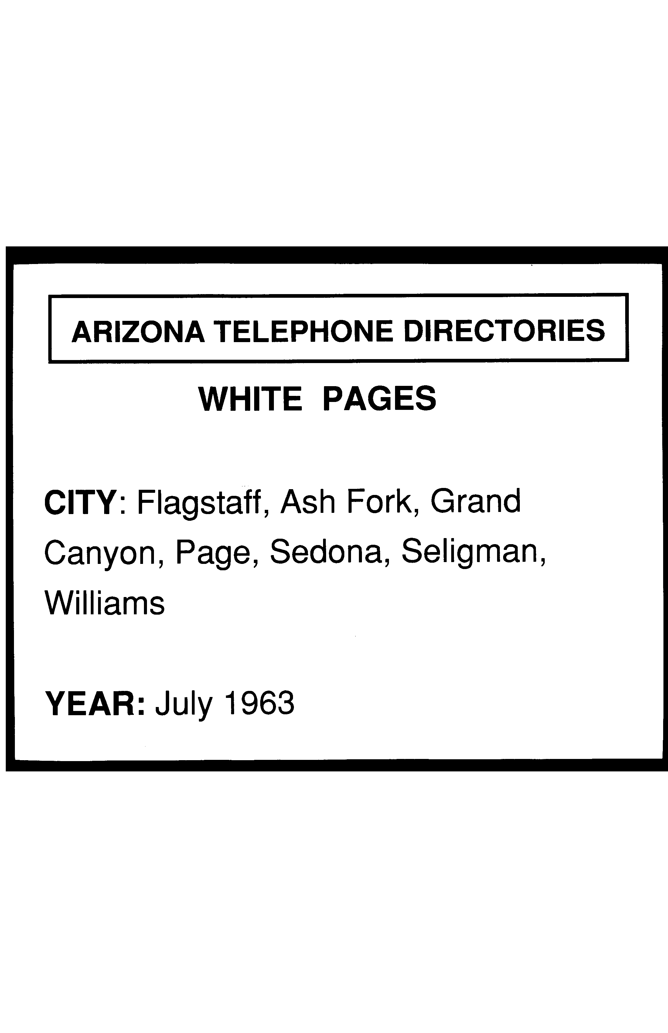 1963 Flagstaff Telephone Directory White Pages