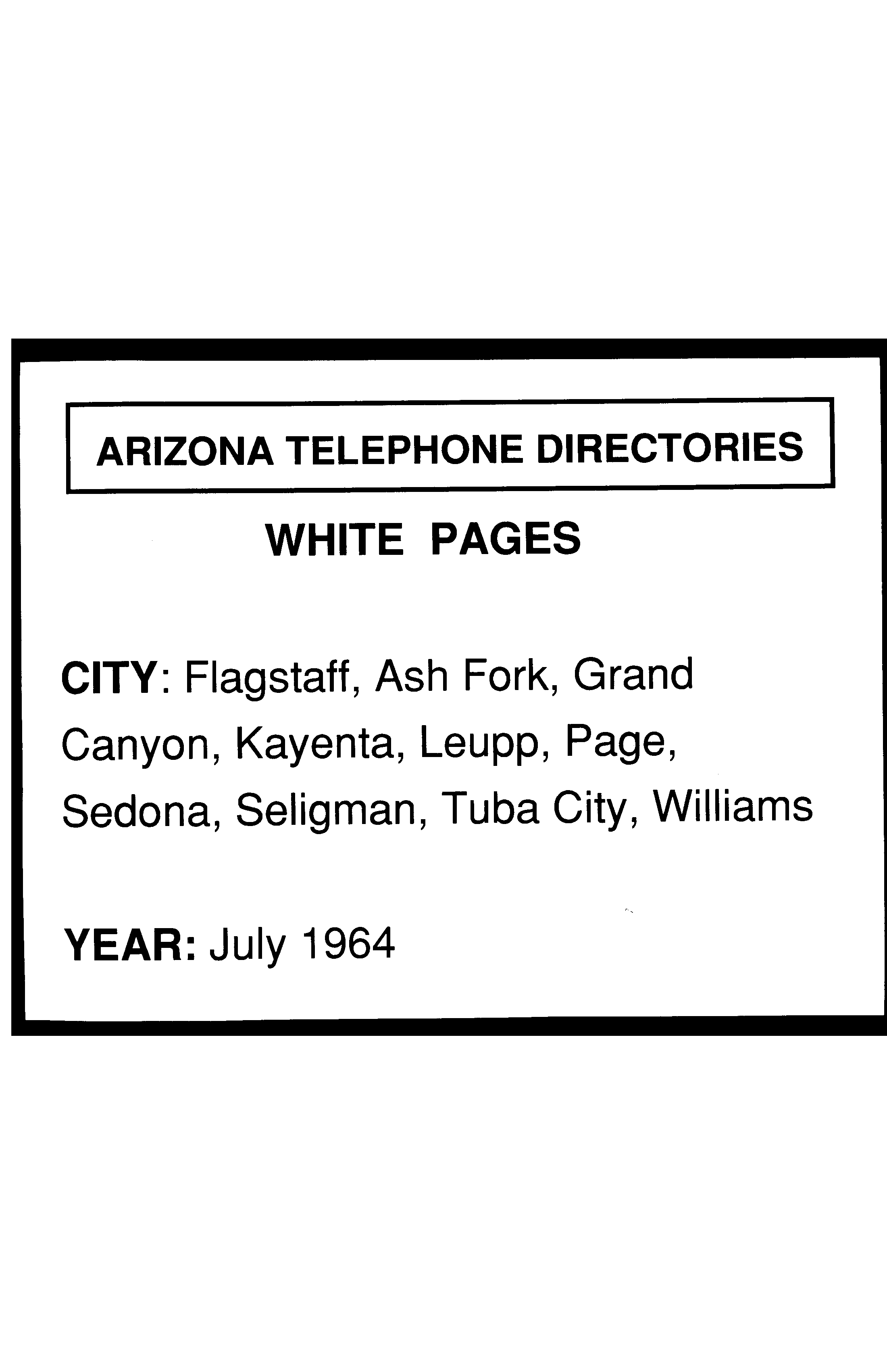 1964 Flagstaff Telephone Directory White Pages - Flagstaff Telephone ...
