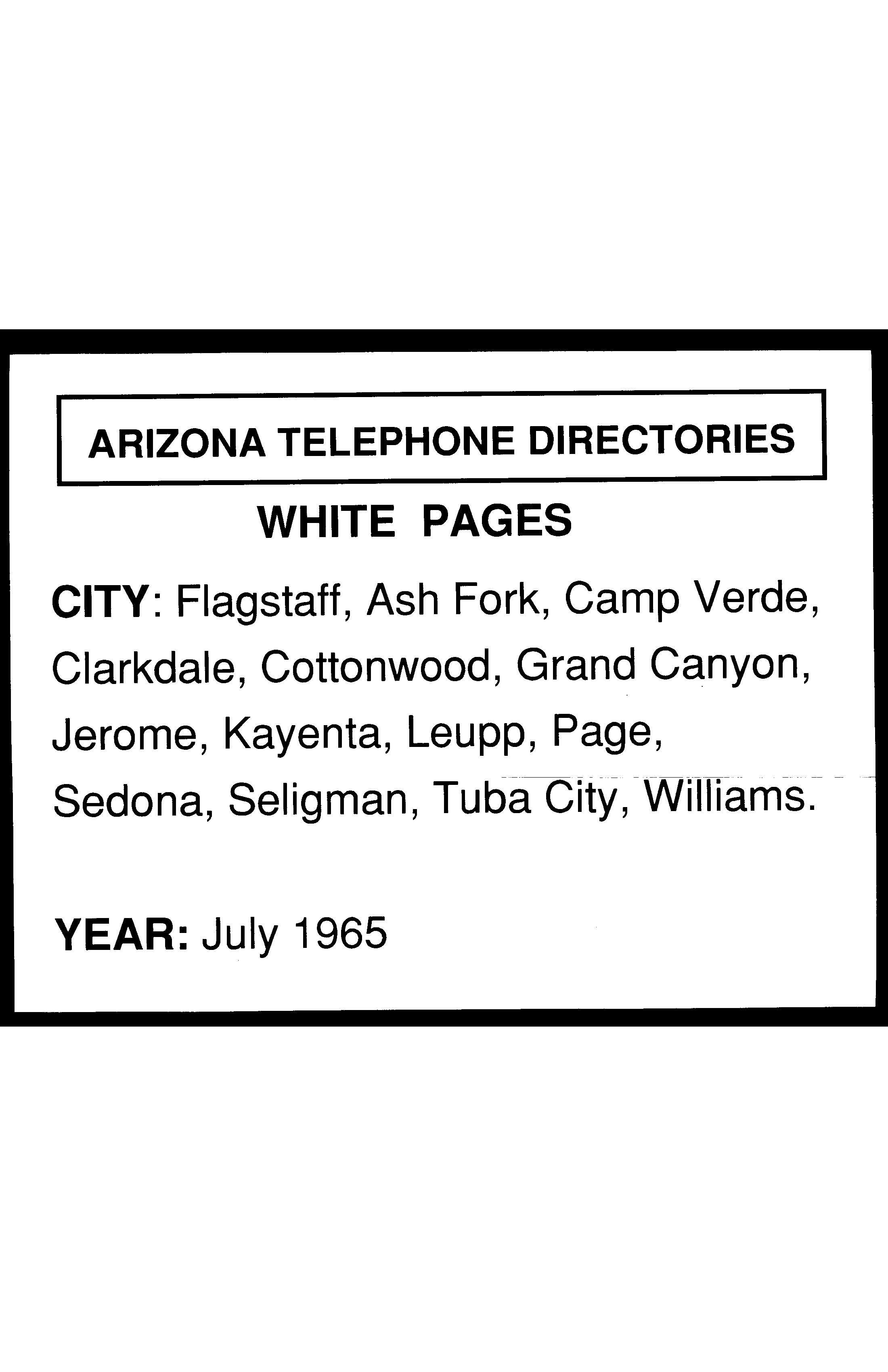 1965 Flagstaff Telephone Directory White Pages - Flagstaff Telephone ...