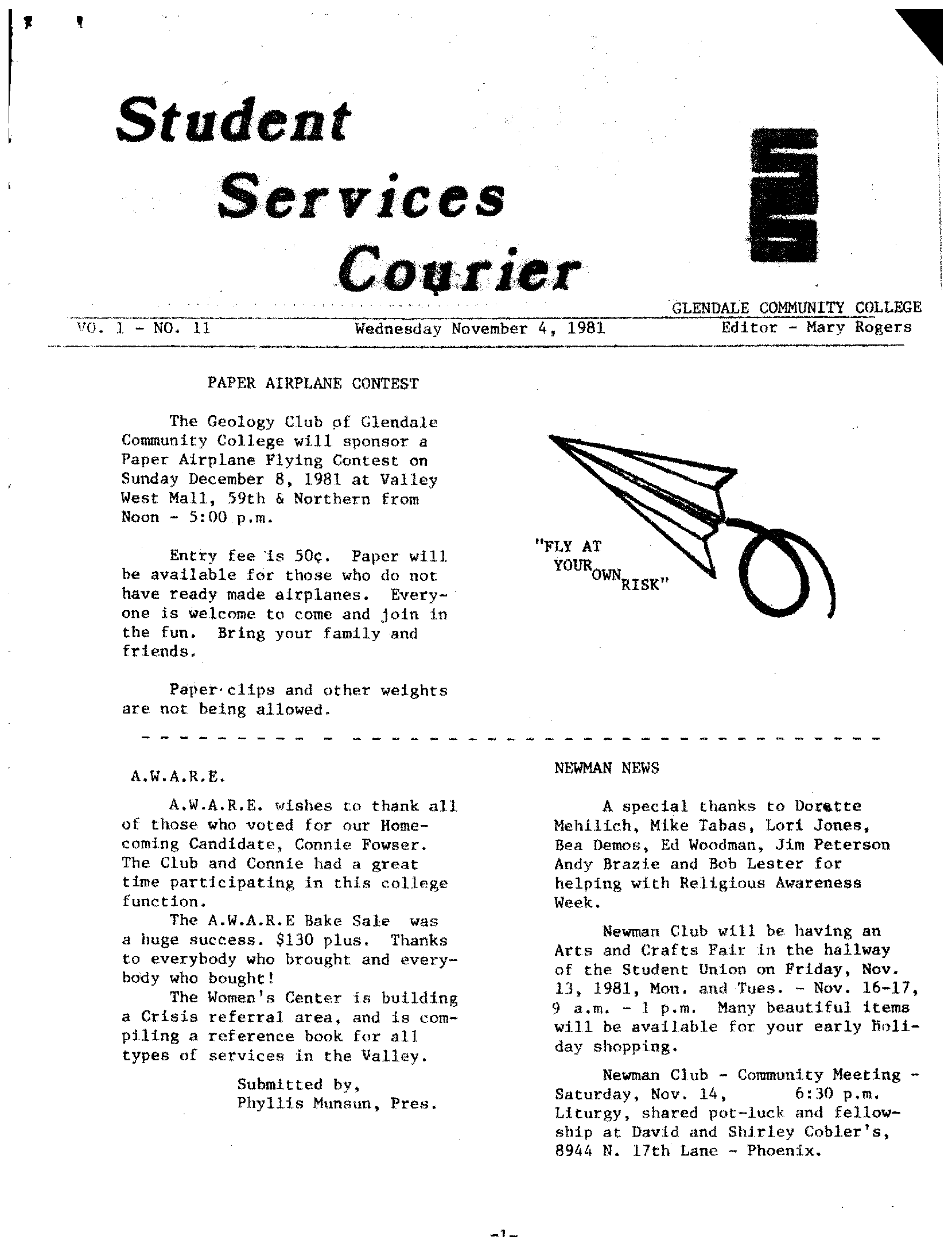 glendale community college student services courier formerly