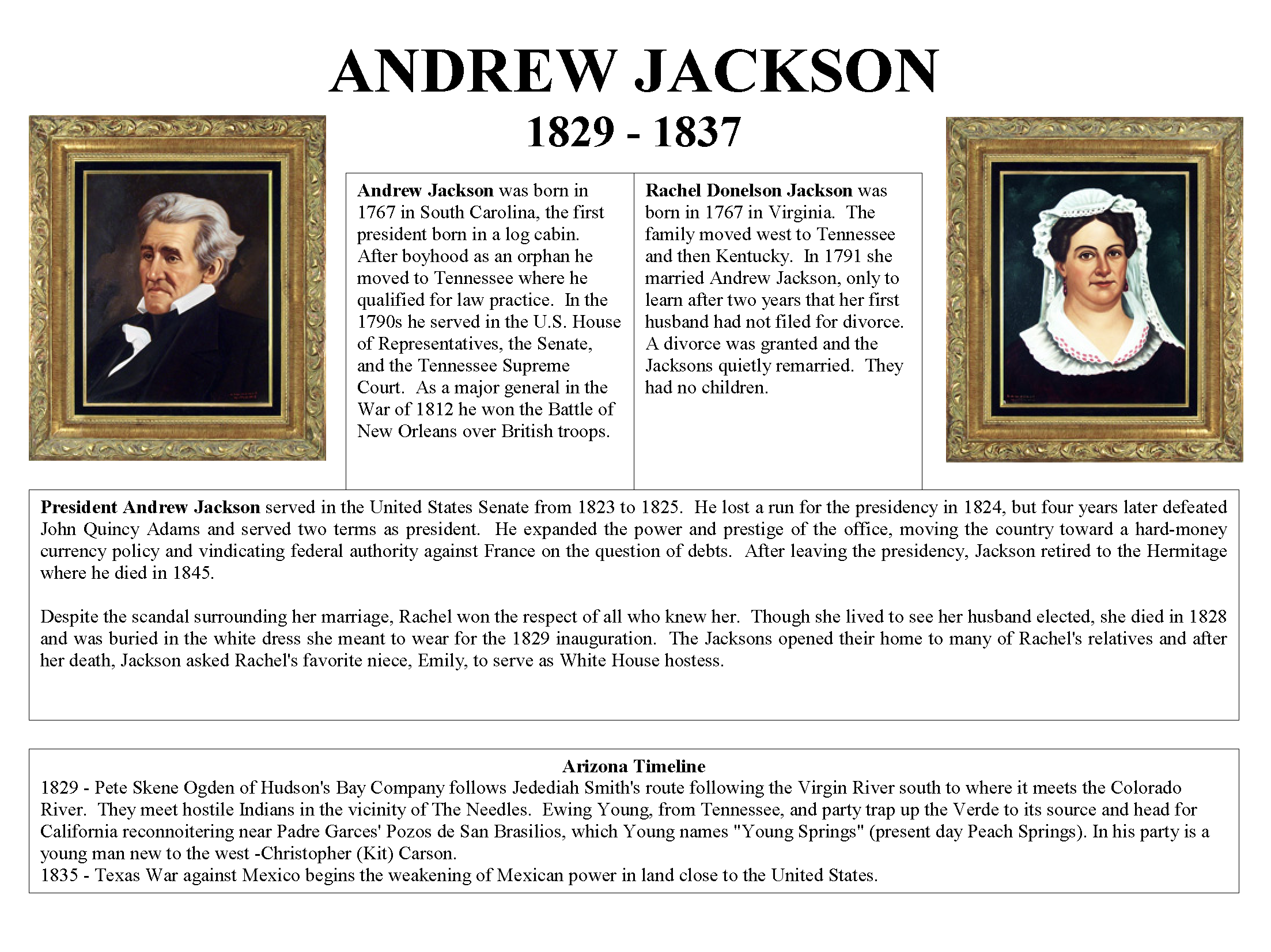 1829 - 1837 President Andrew Jackson and First Lady Rachel