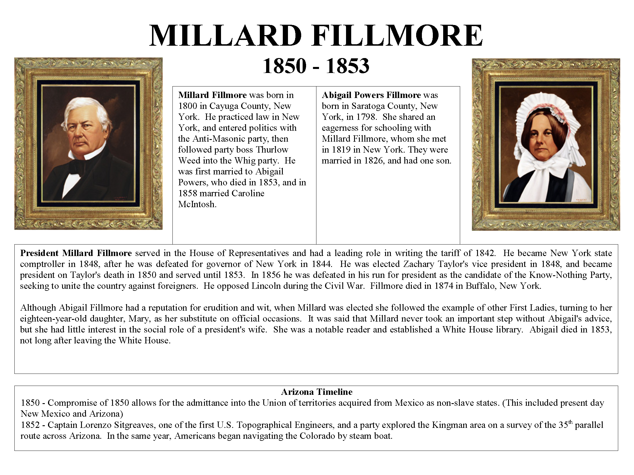 1850 1853 President Millard Fillmore And First Lady Abigail Powers Fillmore Mohave Museum U S Presidents And The History Of Arizona Arizona Memory Project