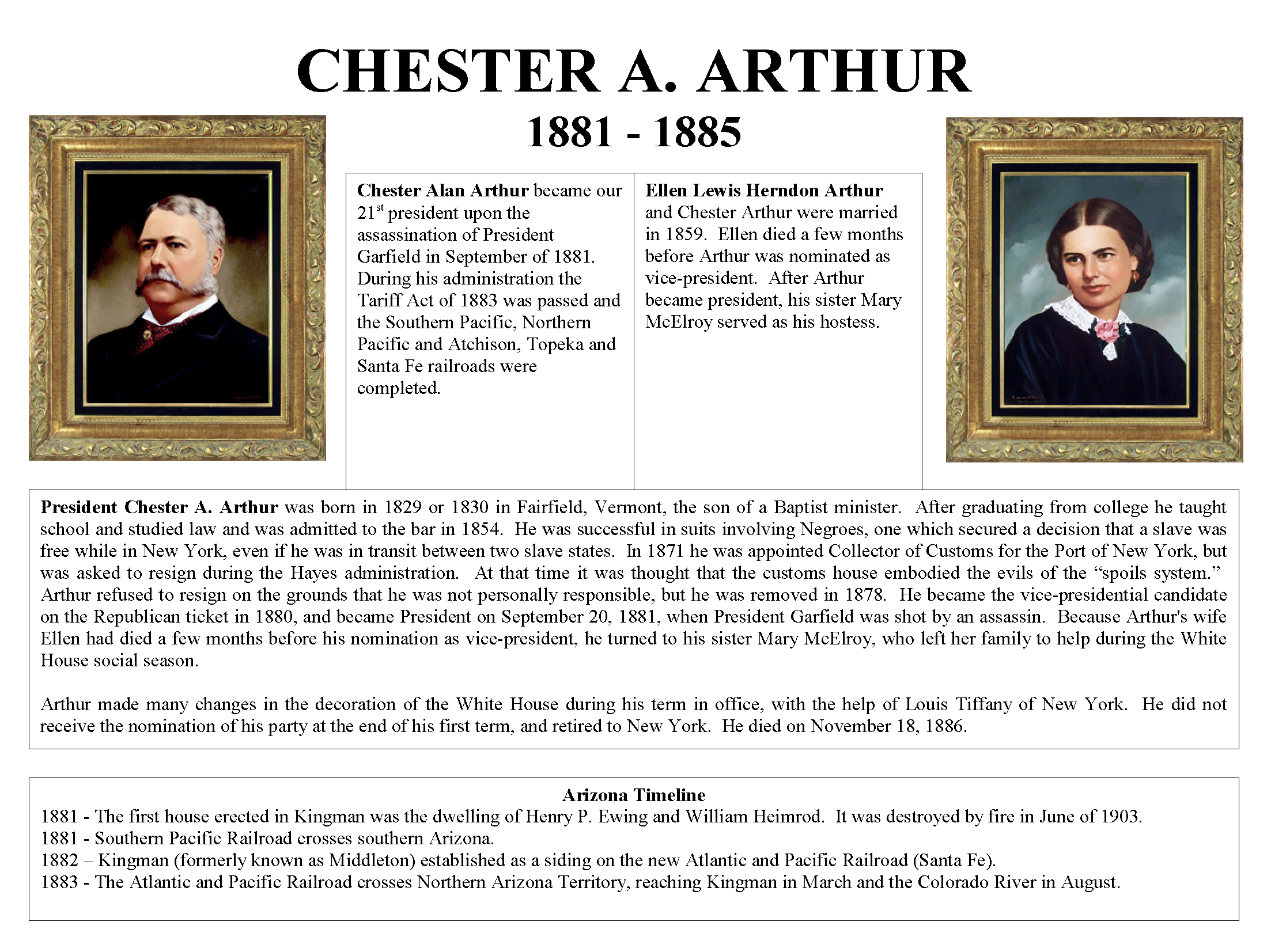 1881 1885 President Chester A Arthur And First Lady Ellen Lewis Herndon Mohave Museum U S Presidents And The History Of Arizona Arizona Memory Project