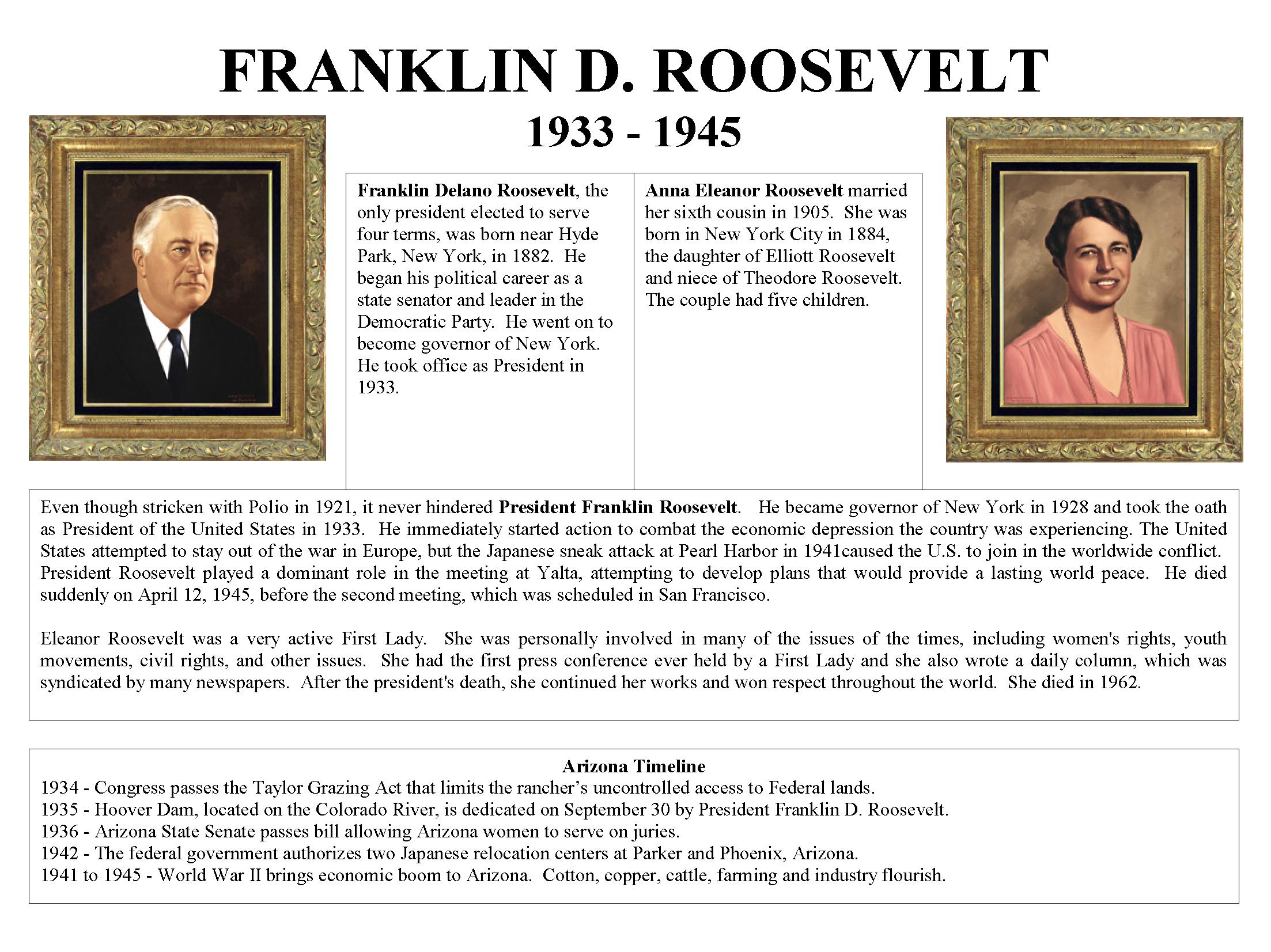 1933 - 1945 President Franklin D  Roosevelt and First Lady