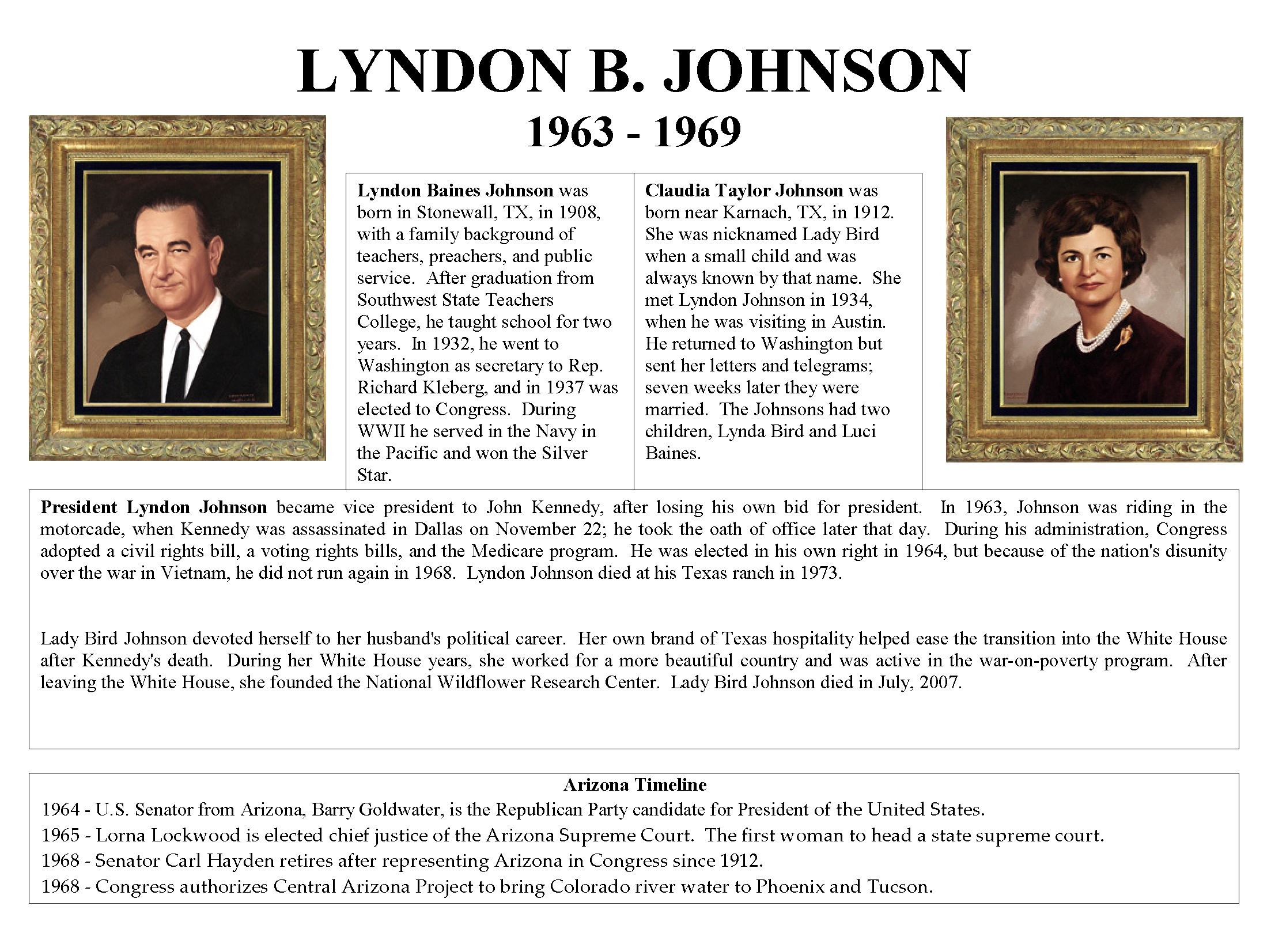 1963 1969 President Lyndon B Johnson And First Lady Claudia Taylor Johnson Mohave Museum U S Presidents And The History Of Arizona Arizona Memory Project