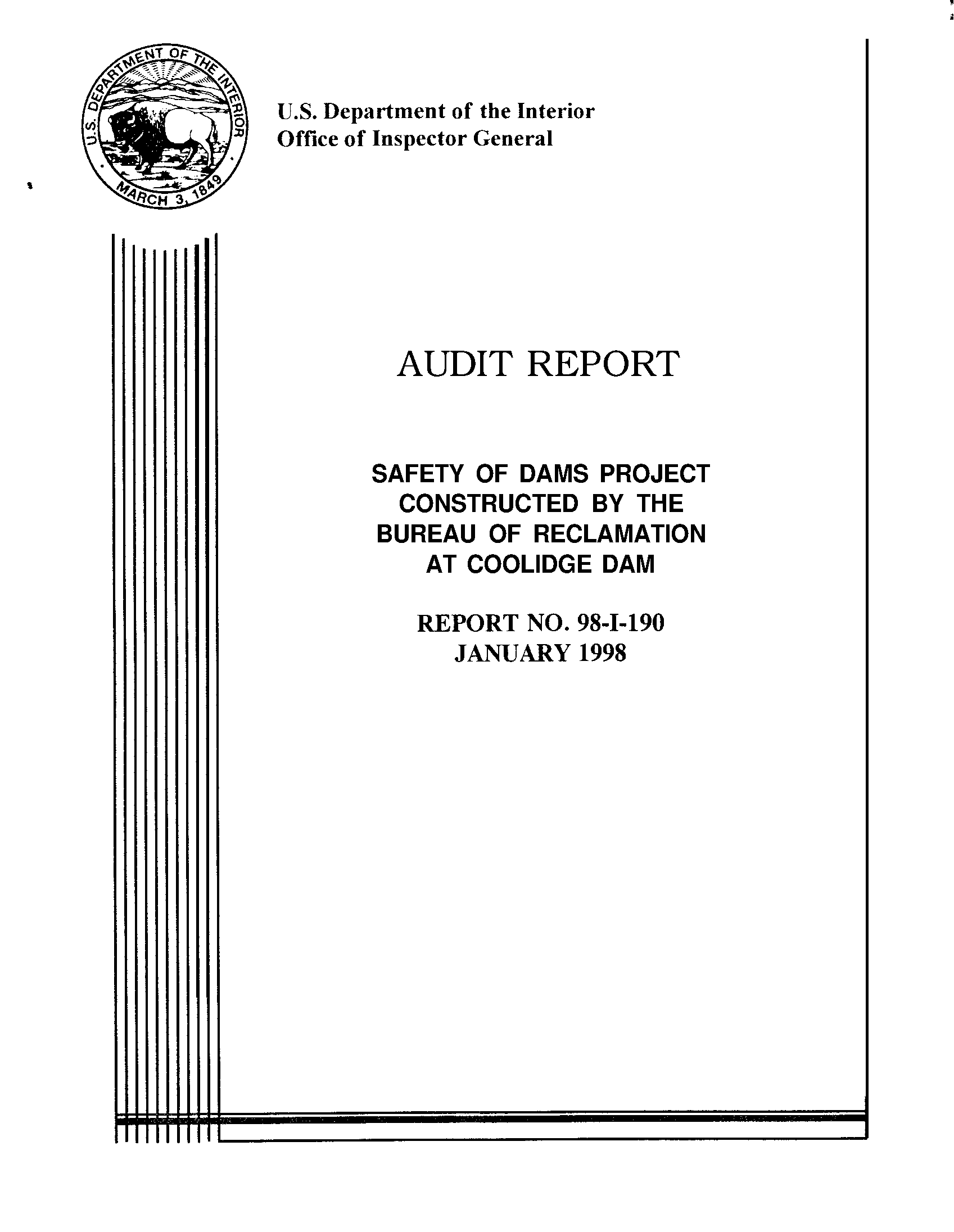 Audit report: safety of dams project constructed by the Bureau of