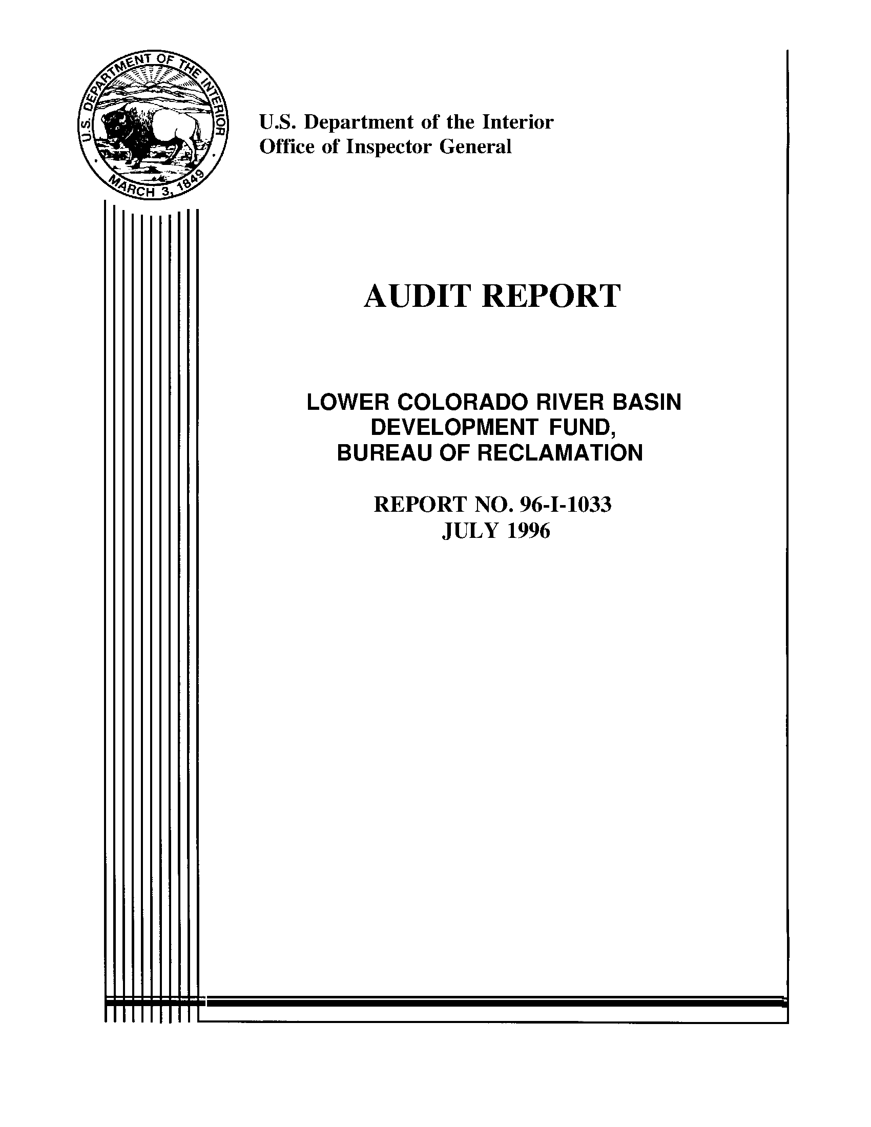 Audit report: Lower Colorado River Basin development fund, Bureau of