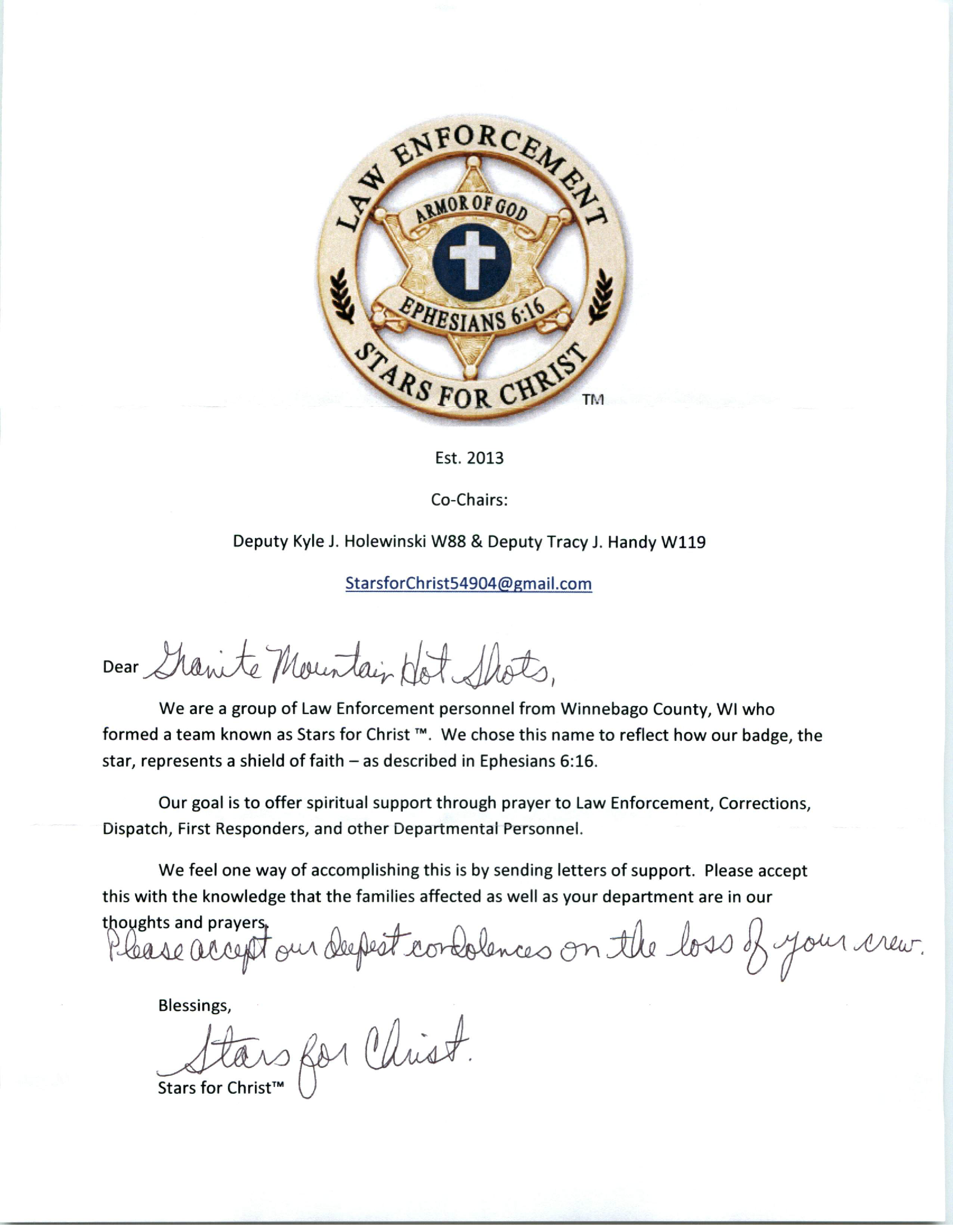Letter Of Condolence From Law Enforcement Stars For Christ