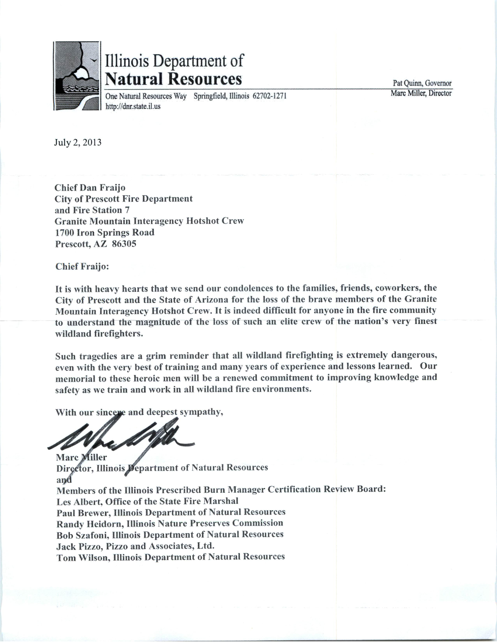Letter Of Condolence From Illinois Department Of Natural Resources