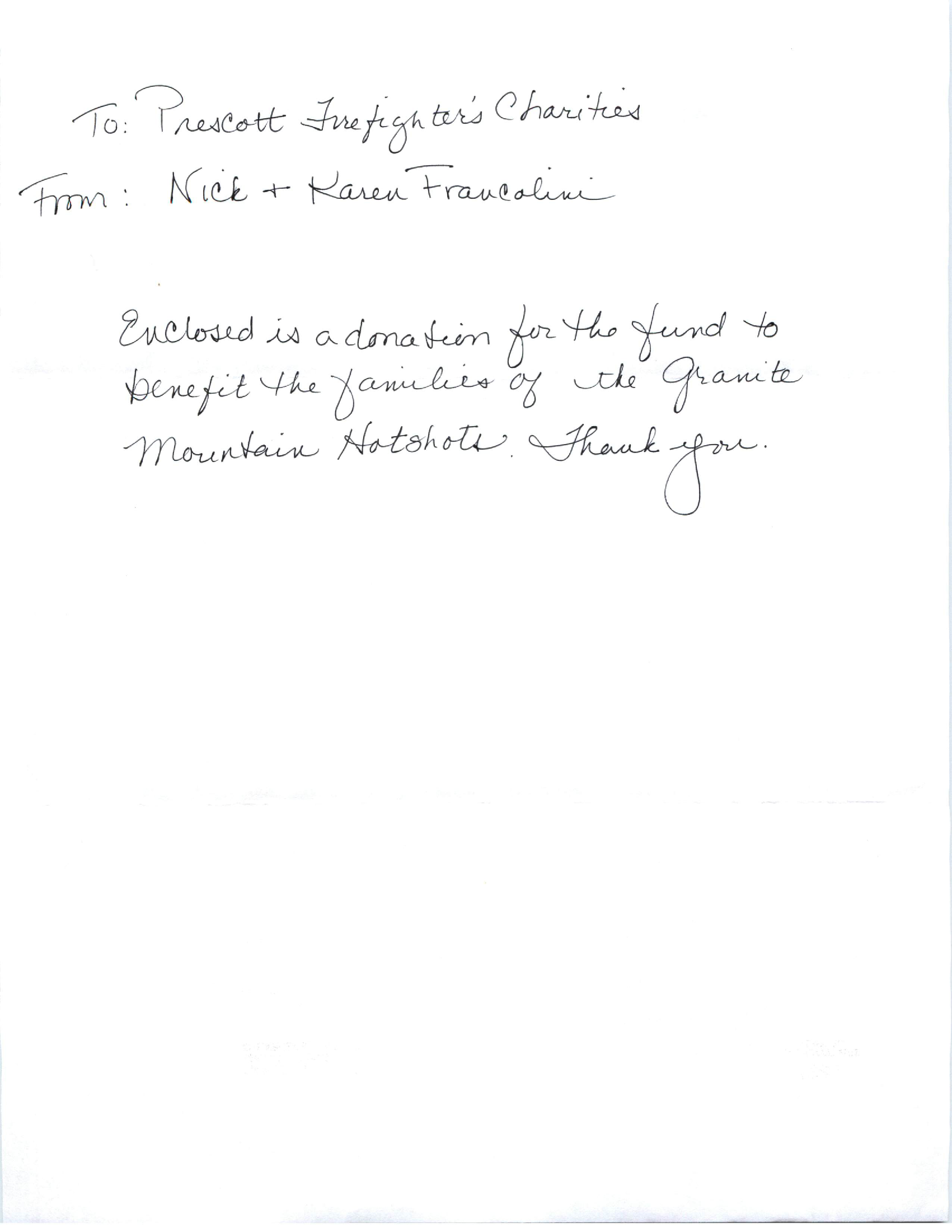 Letter Of Condolence From Nick And Karen Francolini  Prescott