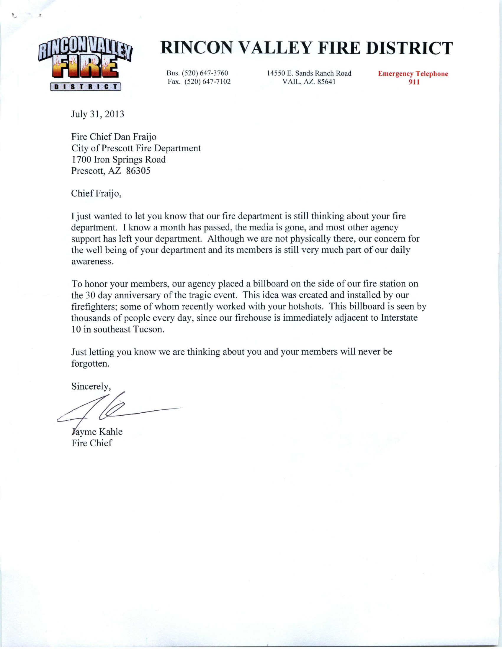 Letter Of Condolence From The Rincon Valley Fire District Vail