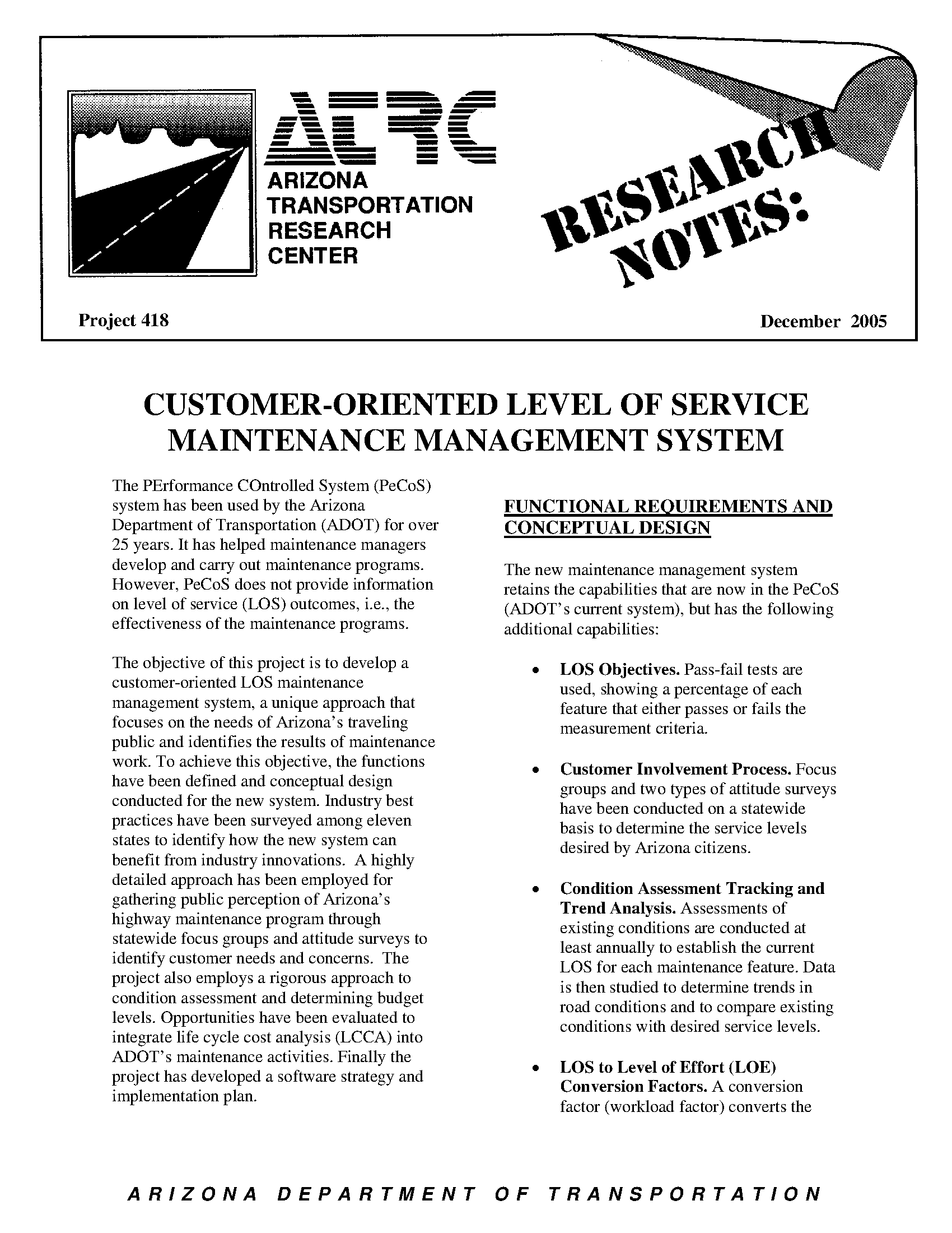 ATRC research notes / project 418 December 2005: customer-oriented