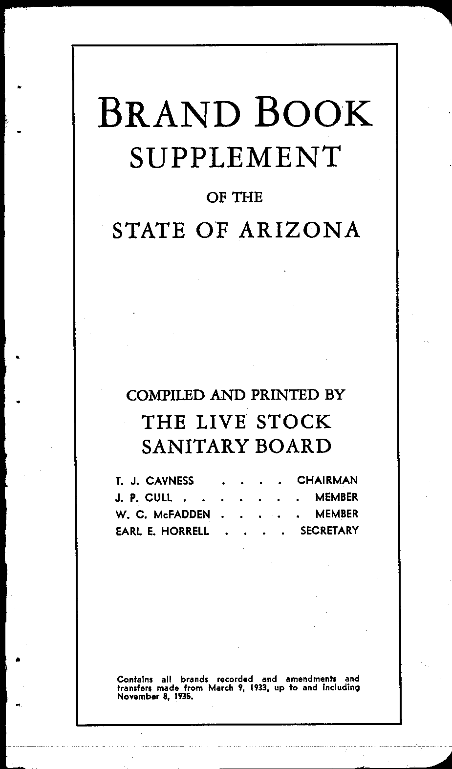 Brand book of the State of Arizona : ordered, compiled, and