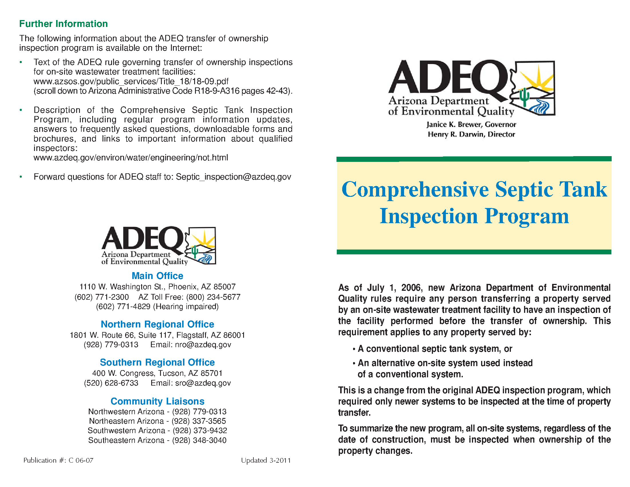Adeq Arizona Department Of Environmental Quality Comprehensive