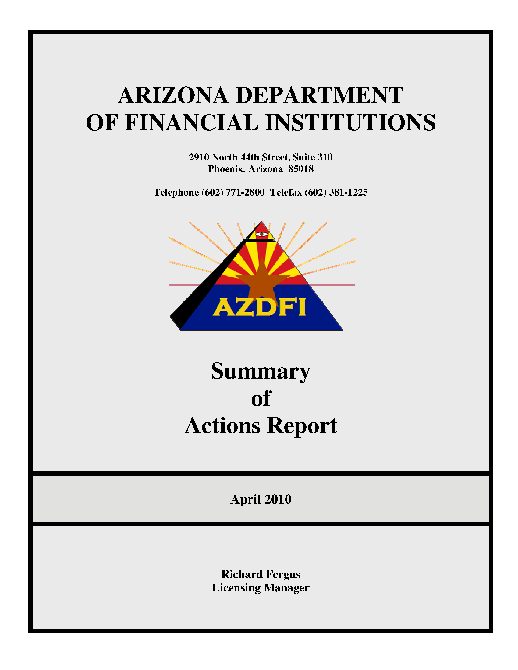 Summary Of Actions Report April 2010