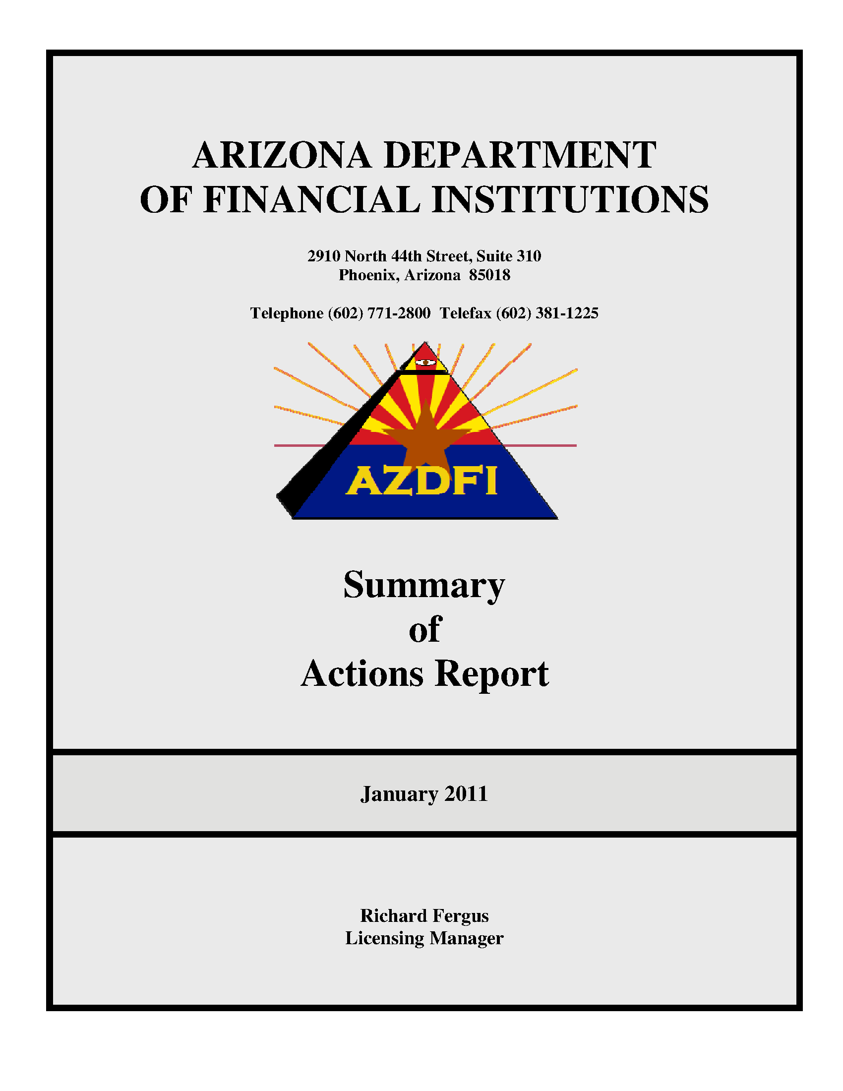 Summary of actions report, January 2011 - Arizona State Government ...