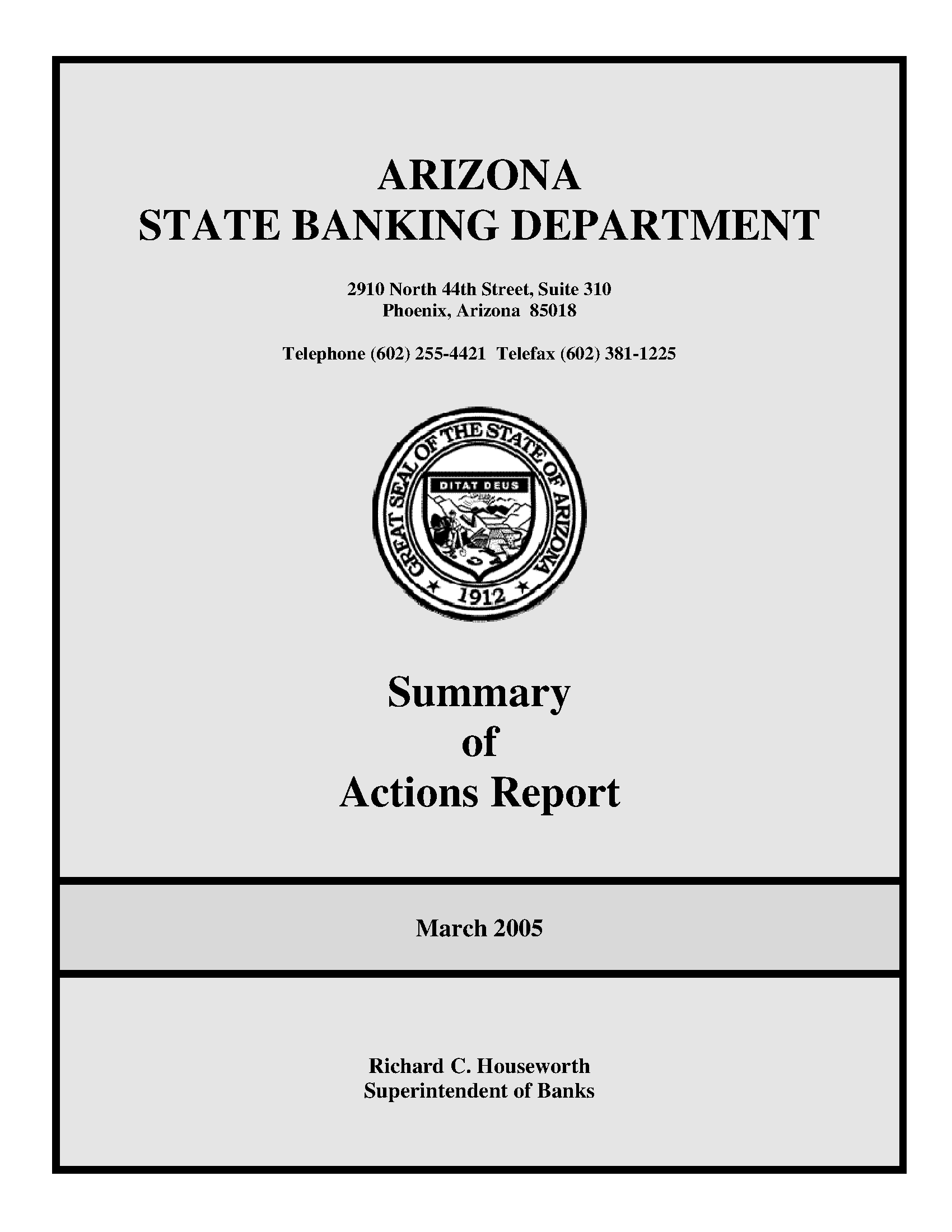 summary of actions report march 2005 arizona state government