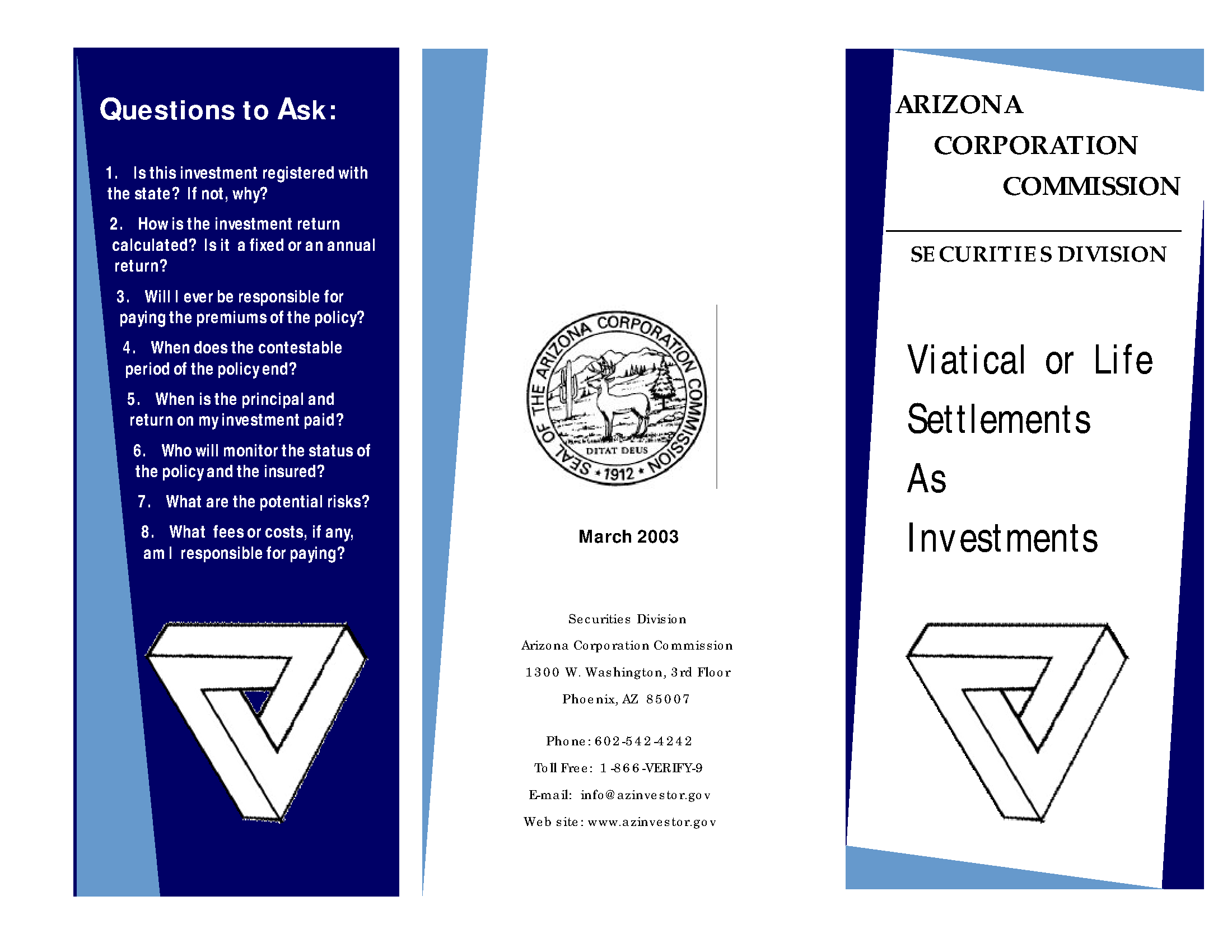 viatical investments Viatical or Life Settlements - Arizona State Government Publications ...