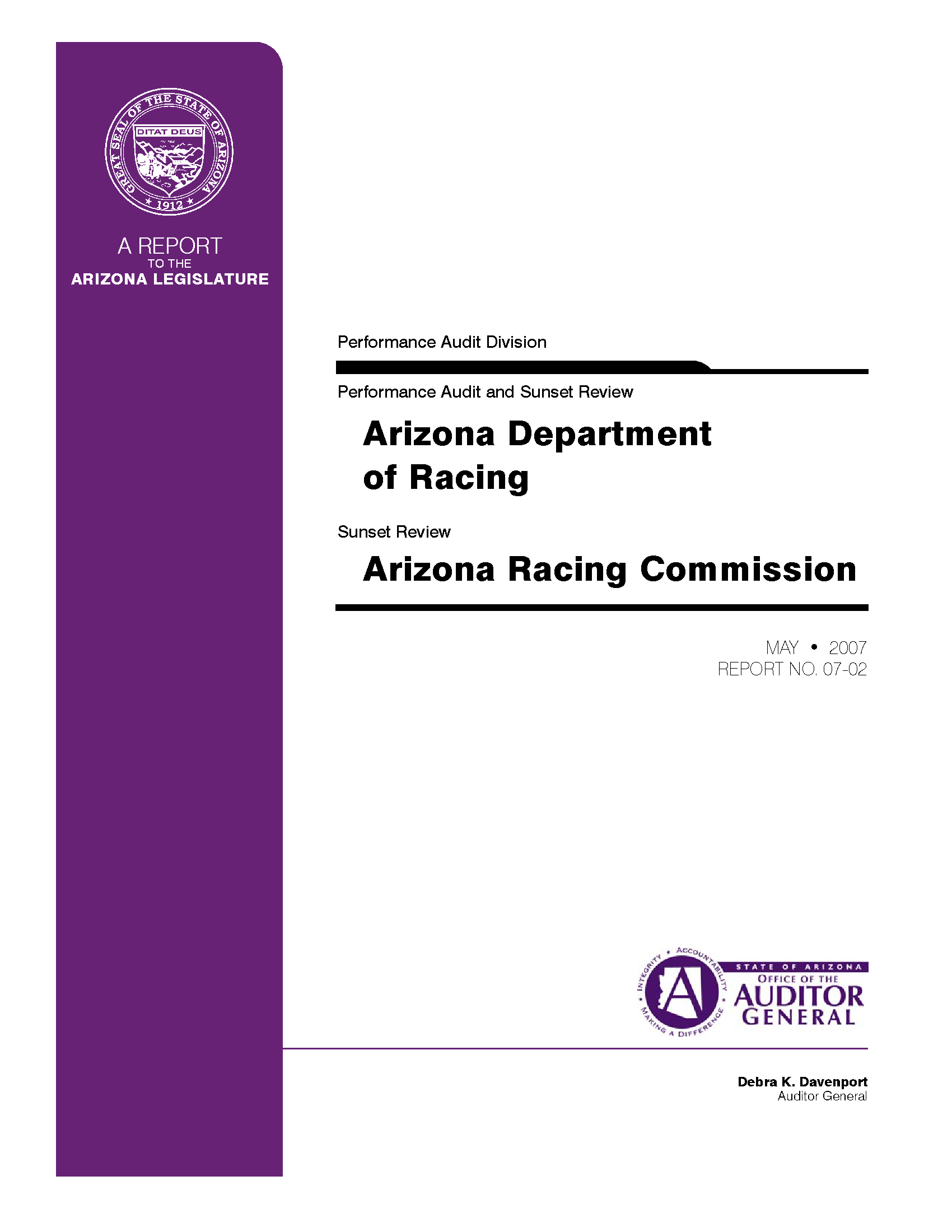 Performance audit and sunset review, Arizona Department of