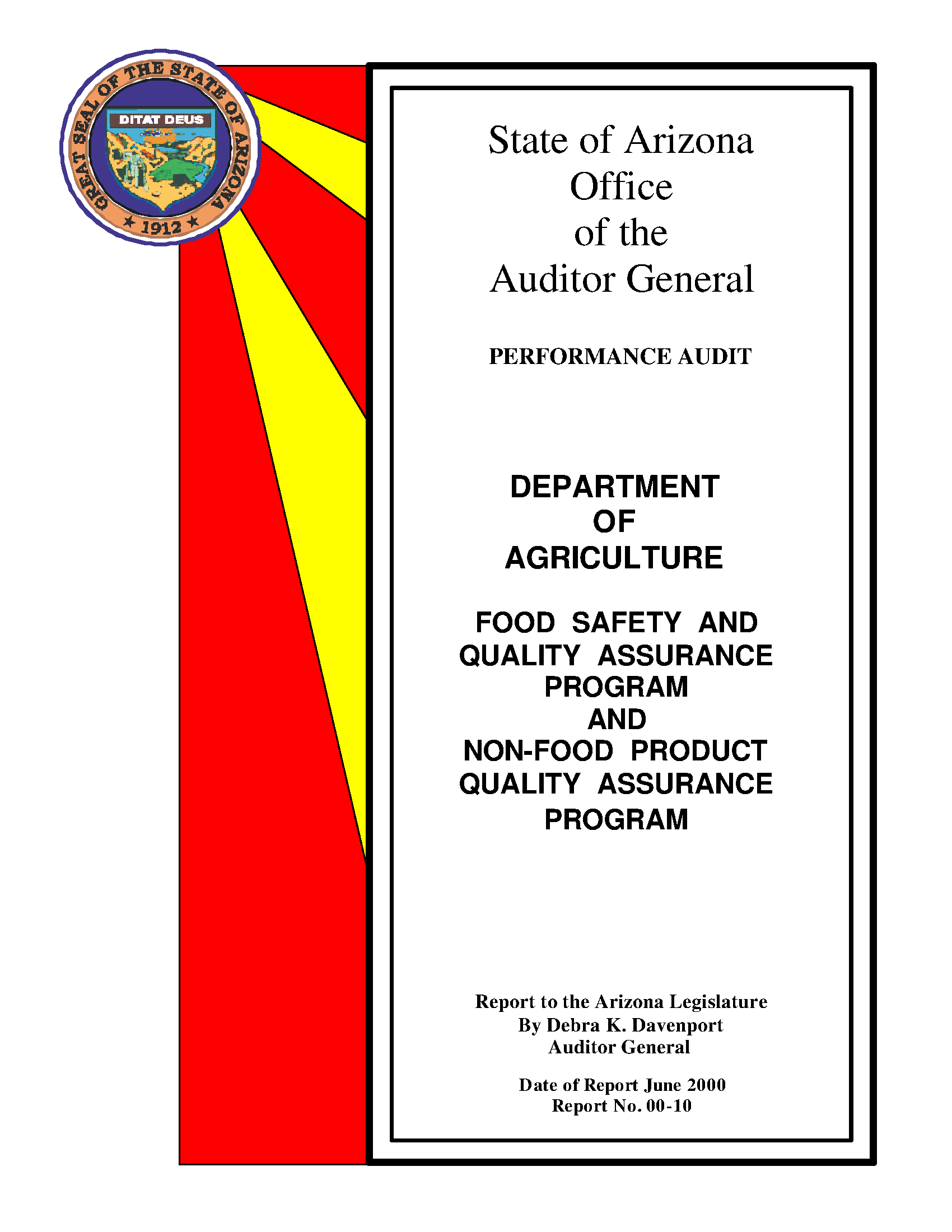 Performance audit, Department of Agriculture food safety and