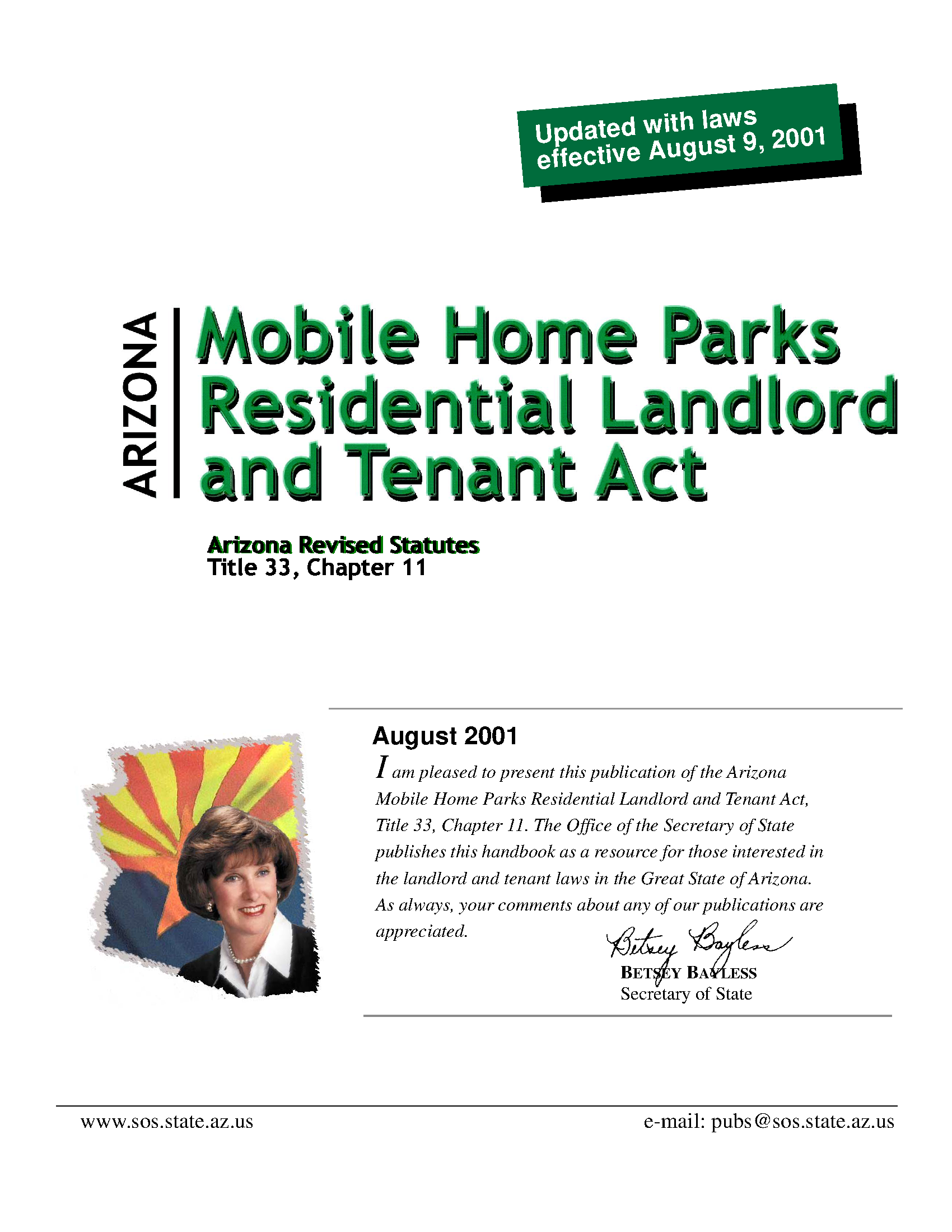 Arizona Mobile Home Parks Residential Landlord And Tenant Act