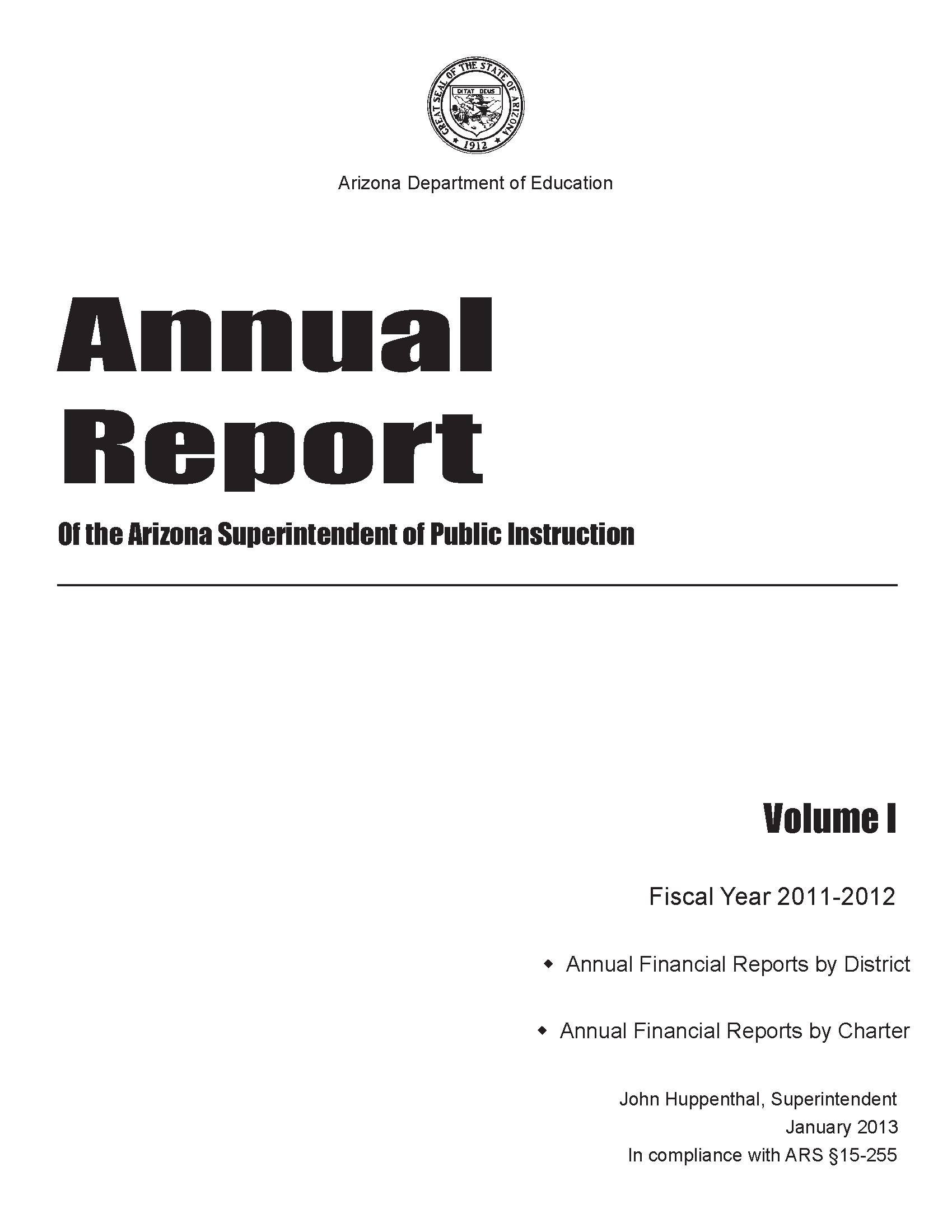 Annual report of the arizona superintendent of public instruction annual report of the arizona superintendent of public instruction fiscal year 2011 2012 volume 1 malvernweather Image collections