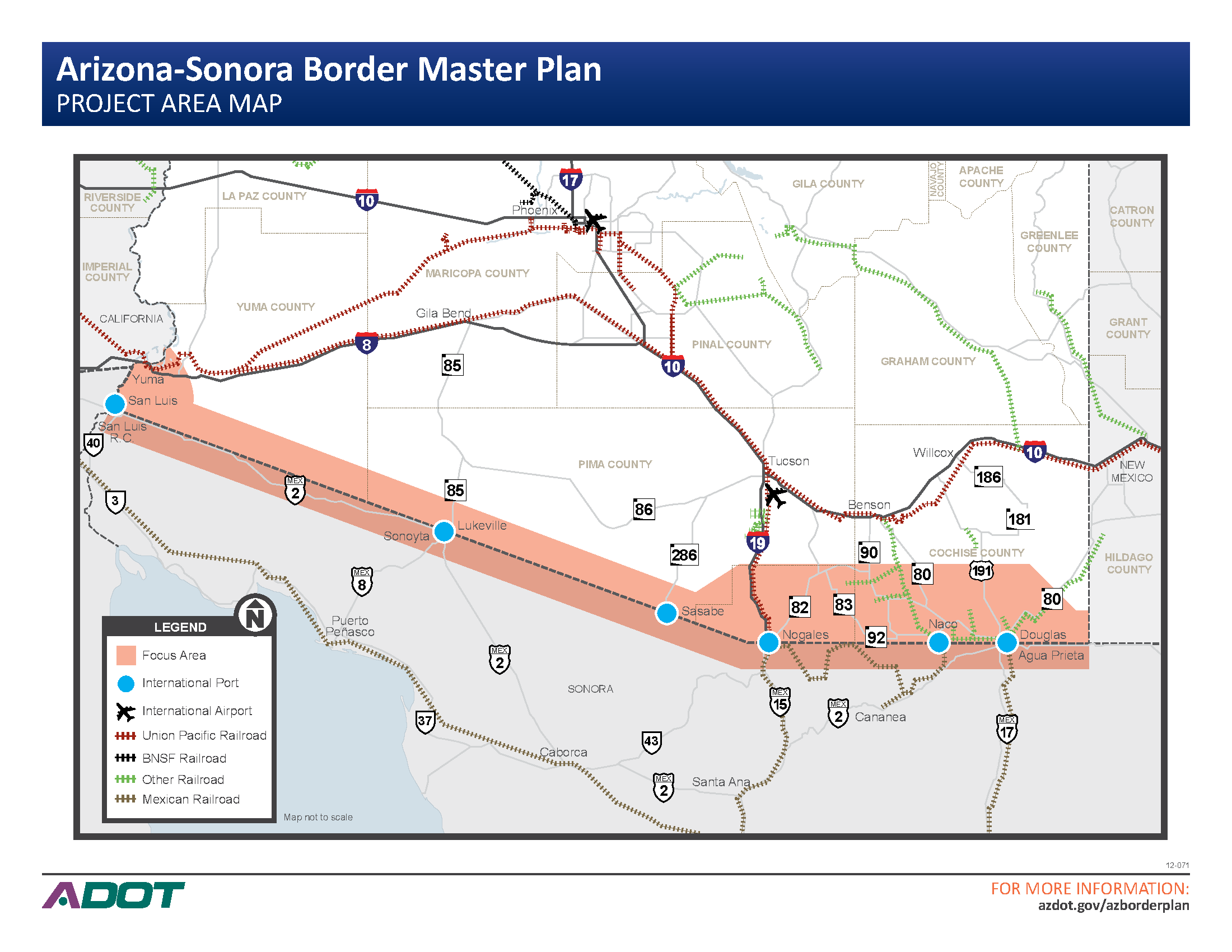 Map Of Arizona Border.Arizona Sonora Border Master Plan Map Arizona State Government