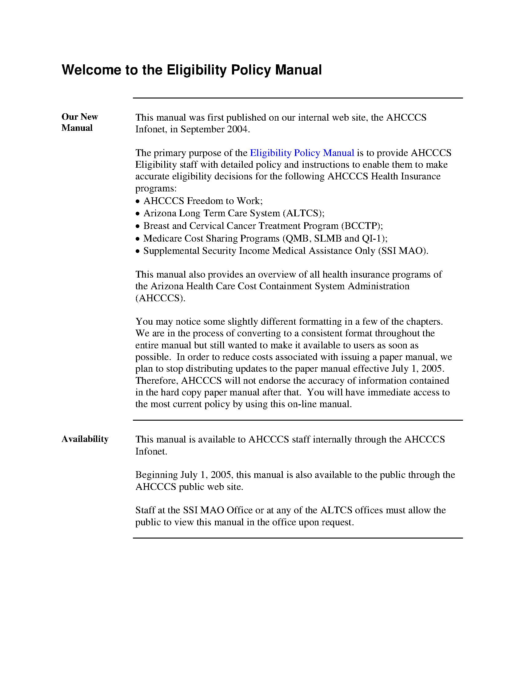 ALTCS eligibility policy and procedure manual - Arizona State ... on