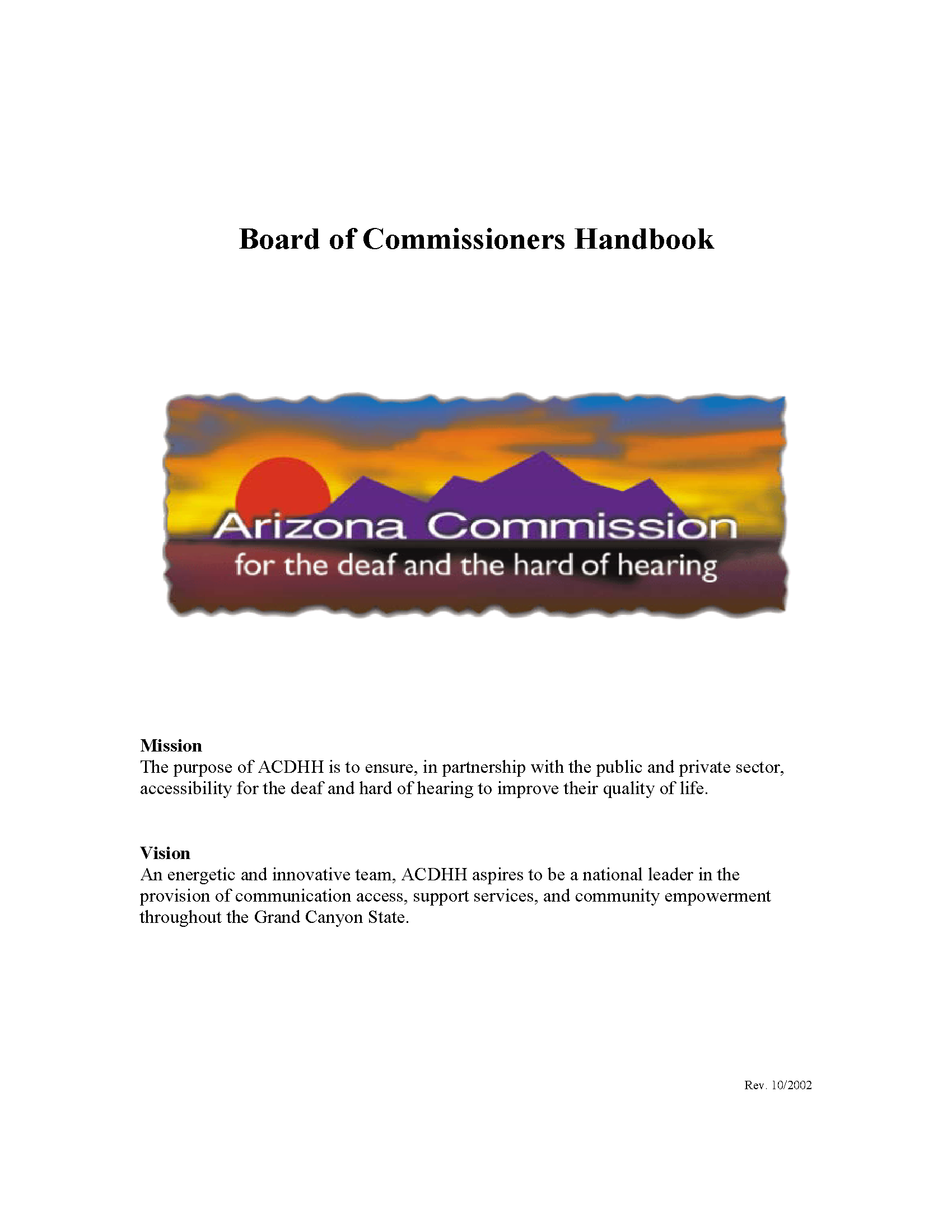 Board of Commissioners handbook / Arizona Commission for the
