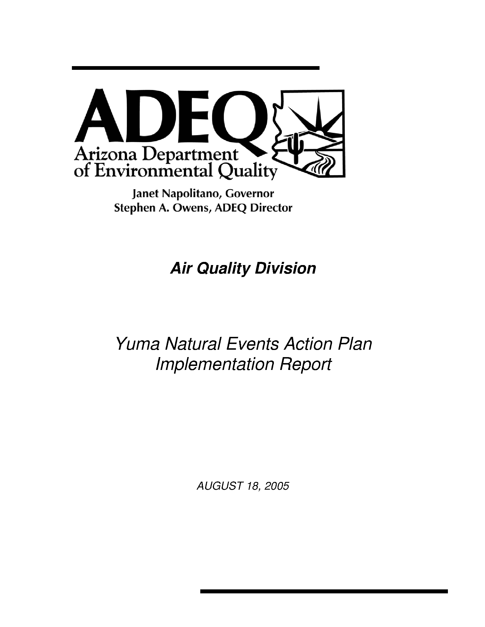 Yuma Natural Events Action Plan Implementation Report Arizona