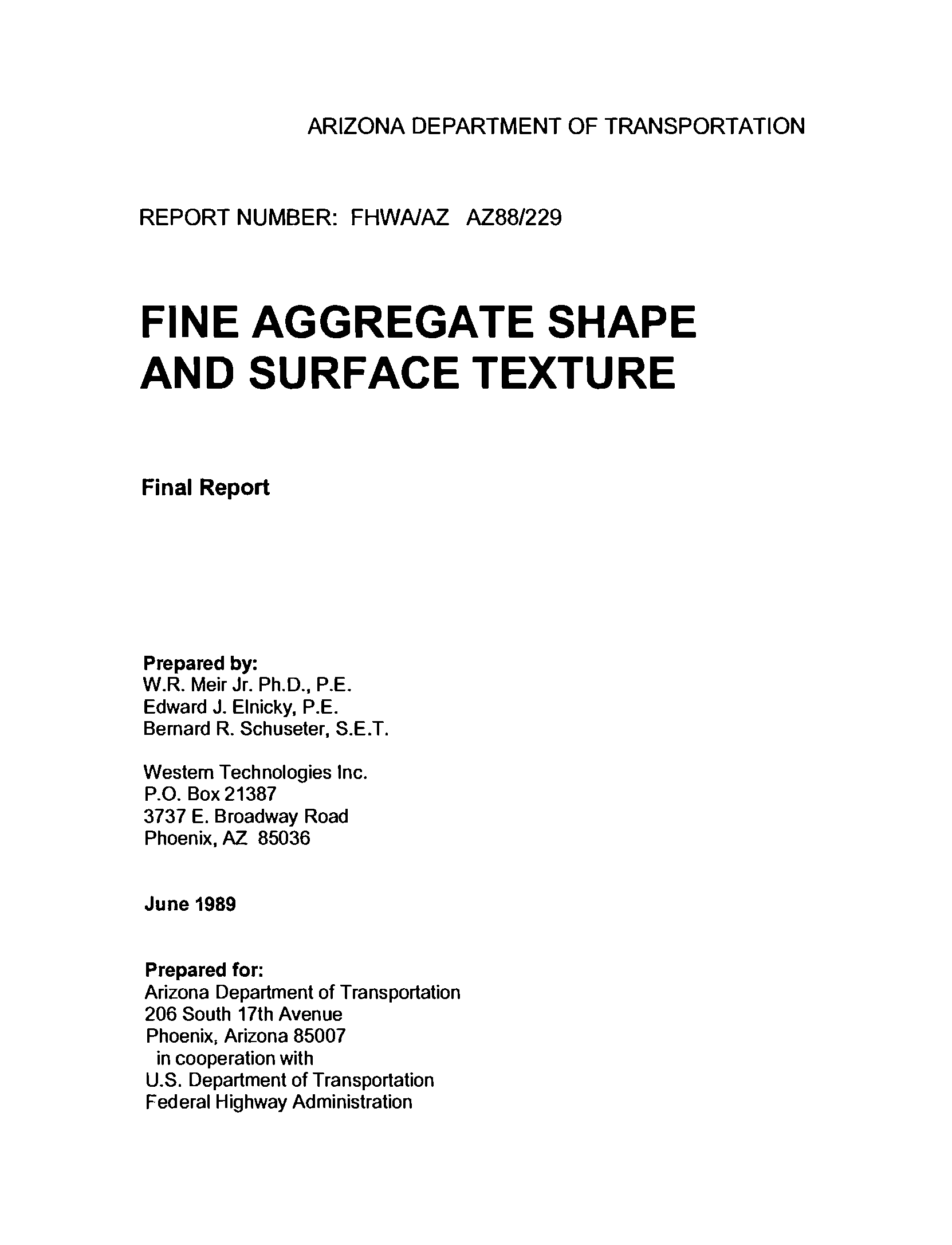 Fine aggregate shape and surface texture : final report