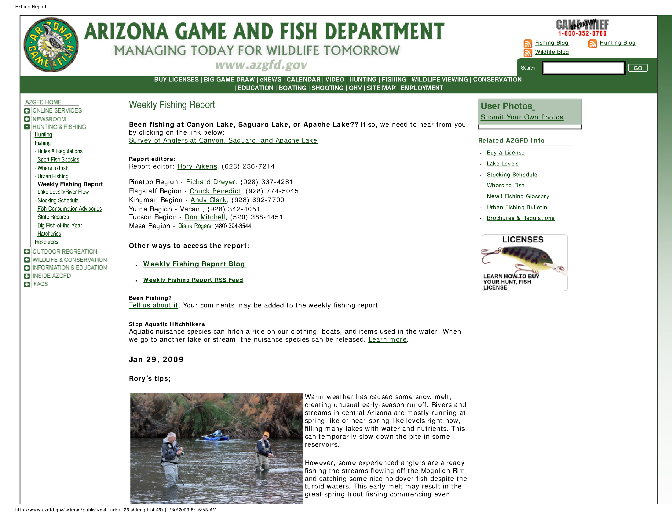 Fishing report: Jan  29, 2009 - Arizona State Government