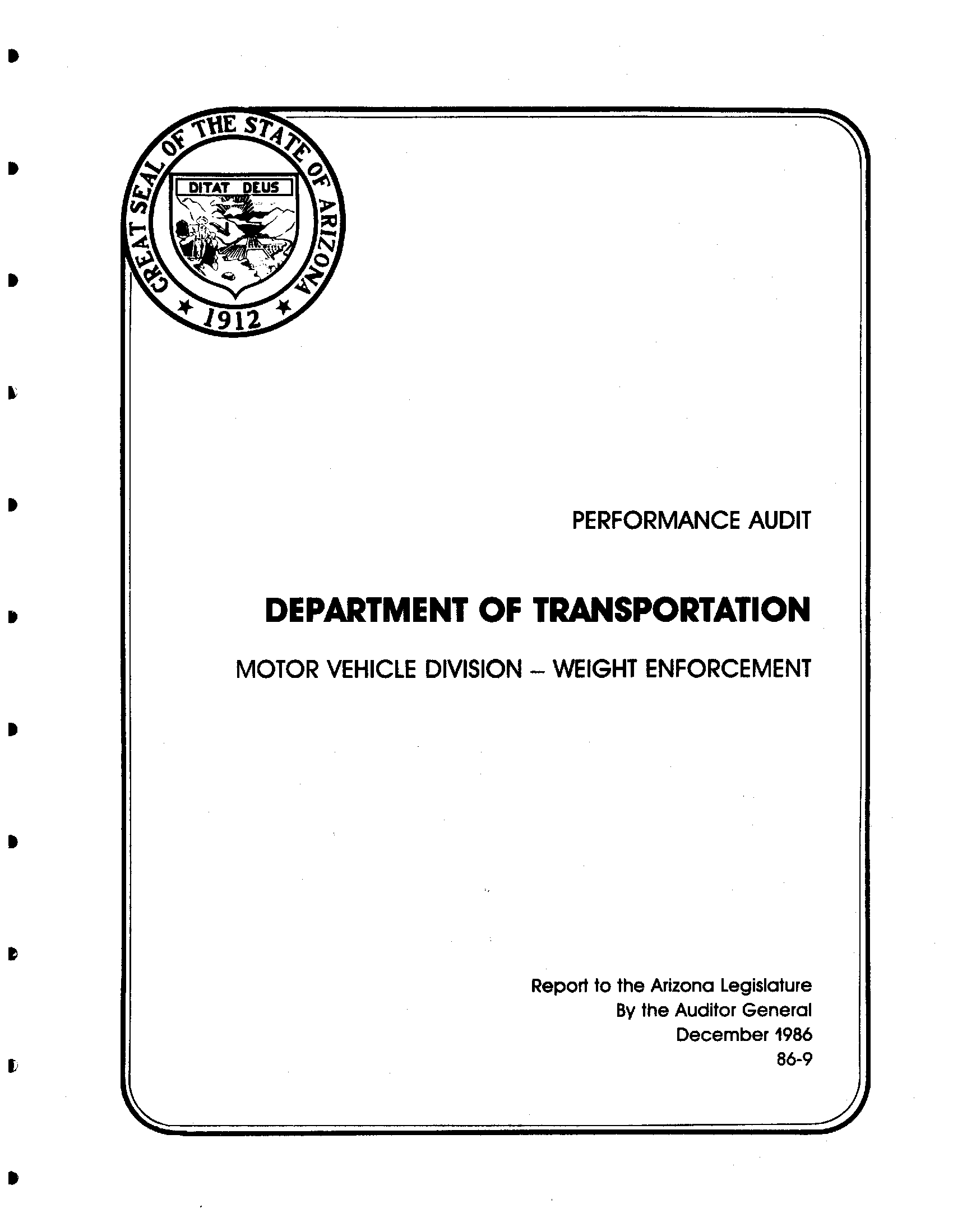 Performance audit, Department of Transportation, Motor Vehicle